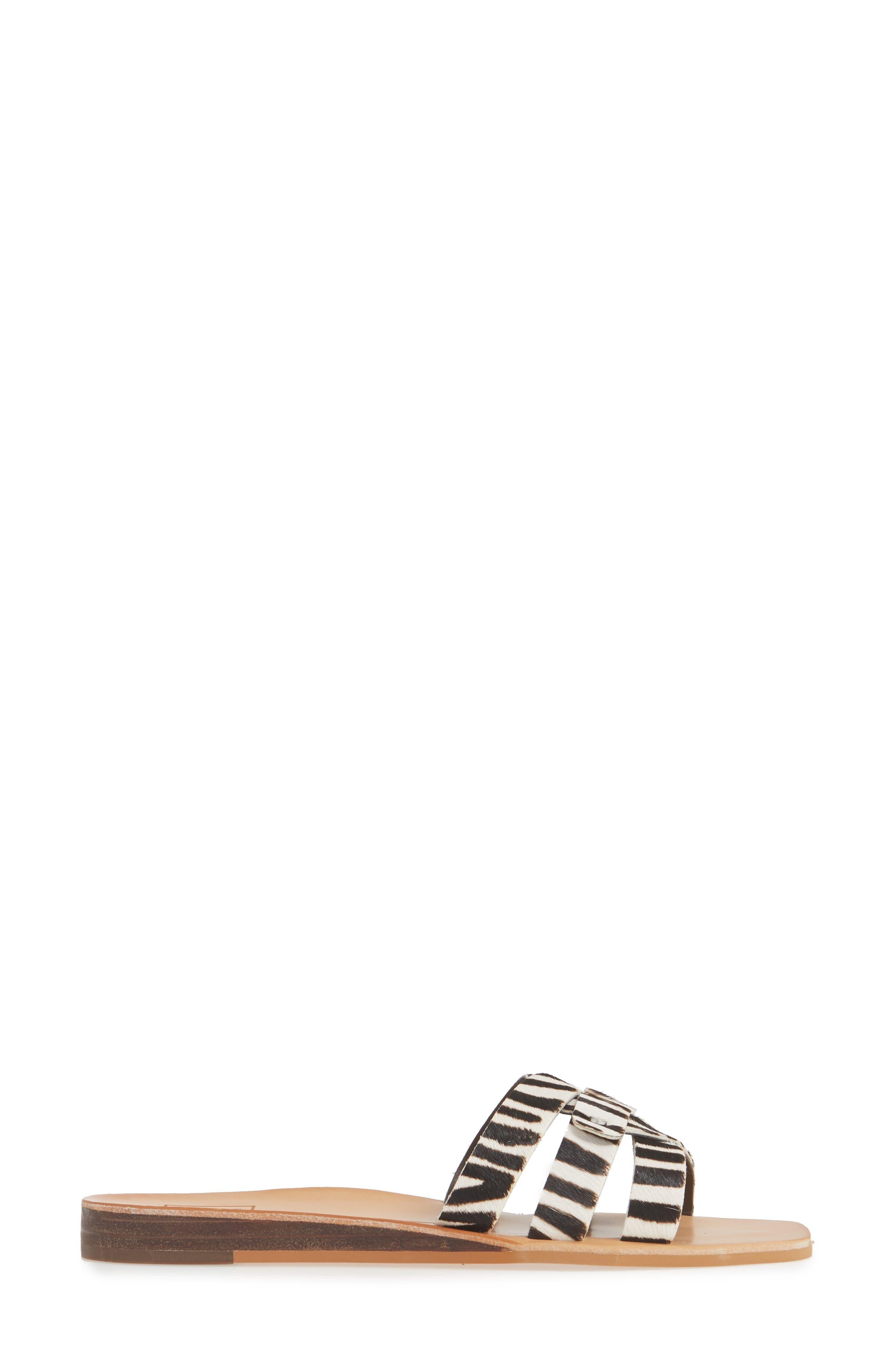 DOLCE VITA, Cait Genuine Calf Hair Slide Sandal, Alternate thumbnail 3, color, ZEBRA PRINT