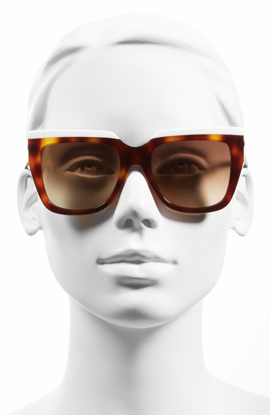 FENDI, 53mm Retro Sunglasses, Alternate thumbnail 2, color, 100