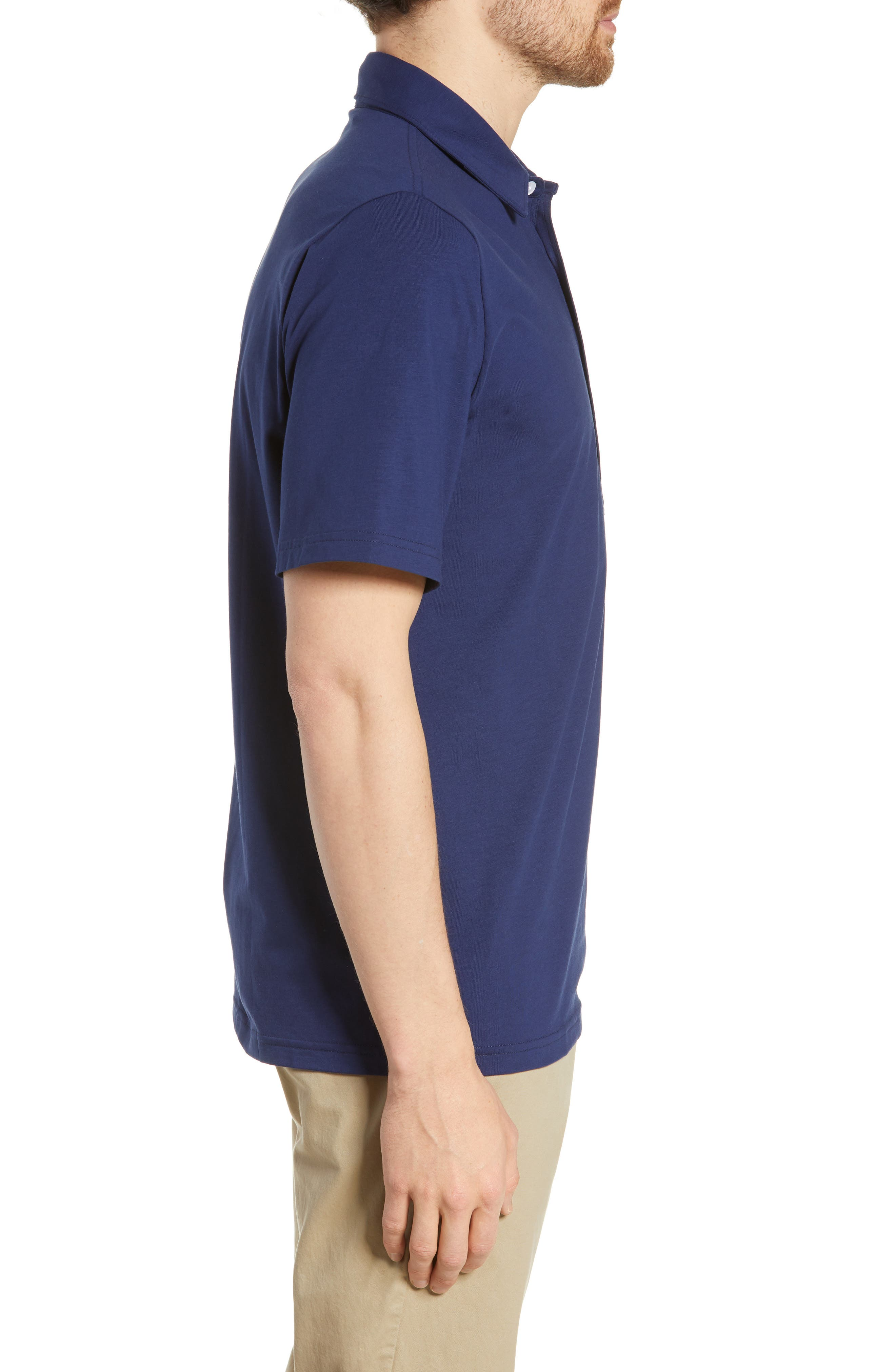 CRIQUET, Players Stretch Jersey Polo, Alternate thumbnail 3, color, NAVY