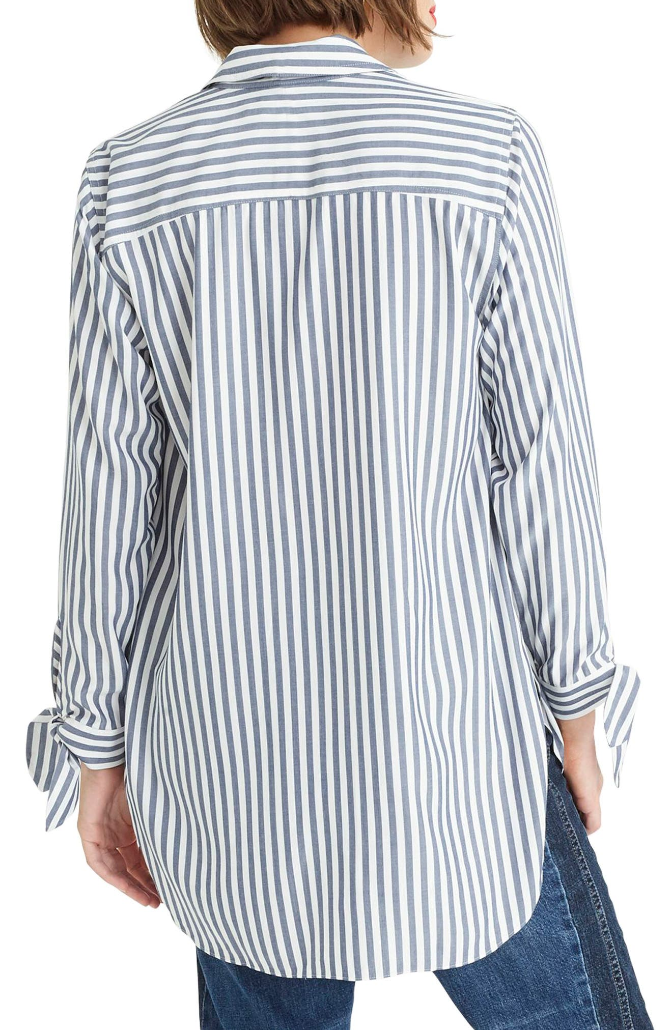 J.CREW, Collared Tie-Sleeve Popover Stripe Shirt, Alternate thumbnail 2, color, 400