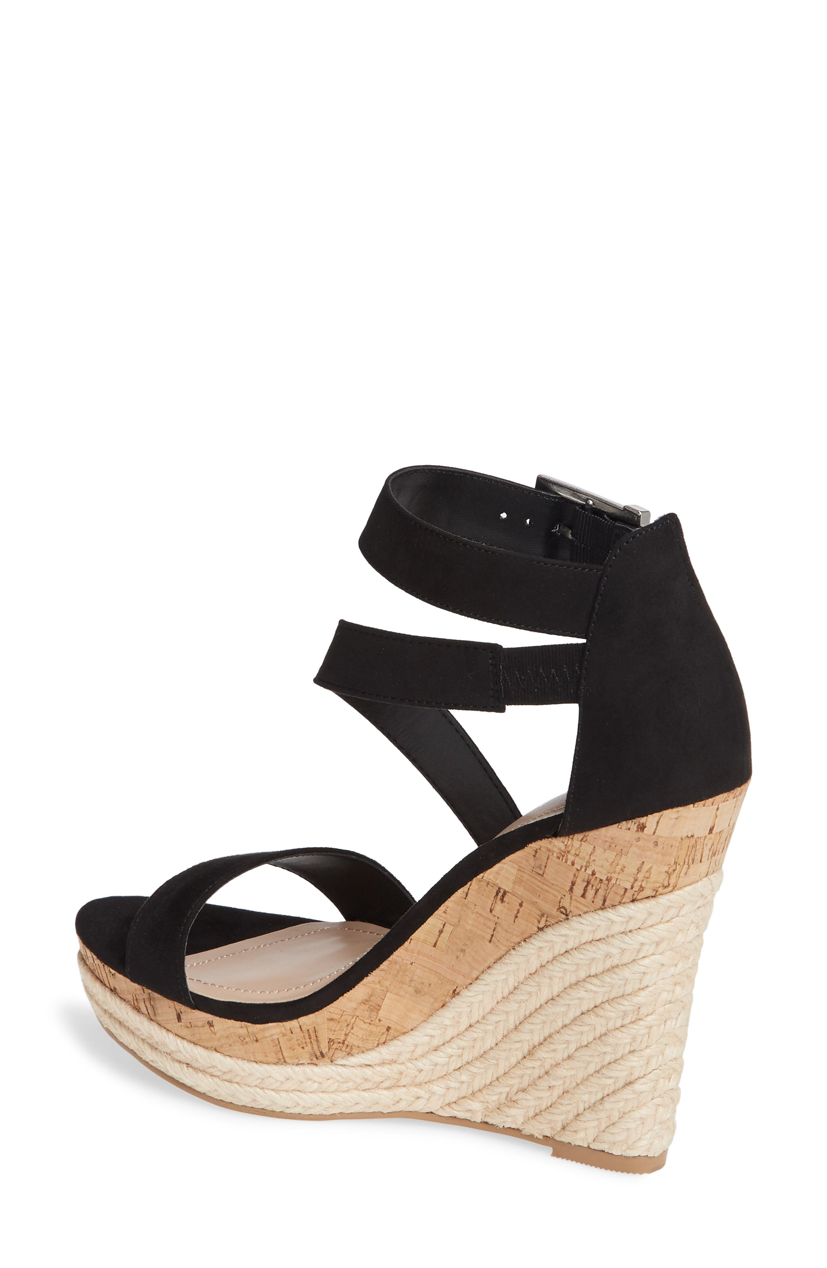 CHARLES BY CHARLES DAVID, Adrielle Asymmetrical Platform Wedge Sandal, Alternate thumbnail 2, color, BLACK FABRIC