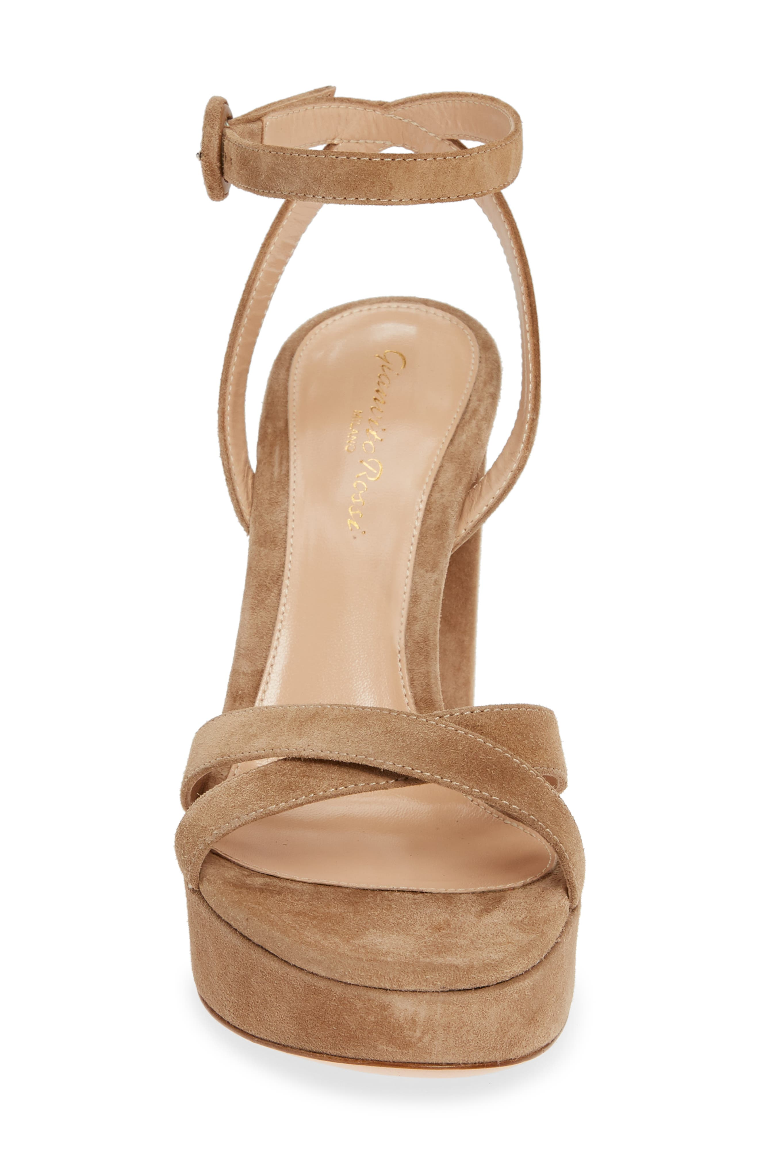 GIANVITO ROSSI, Ankle Strap Platform Sandal, Alternate thumbnail 4, color, CAMEL SUEDE