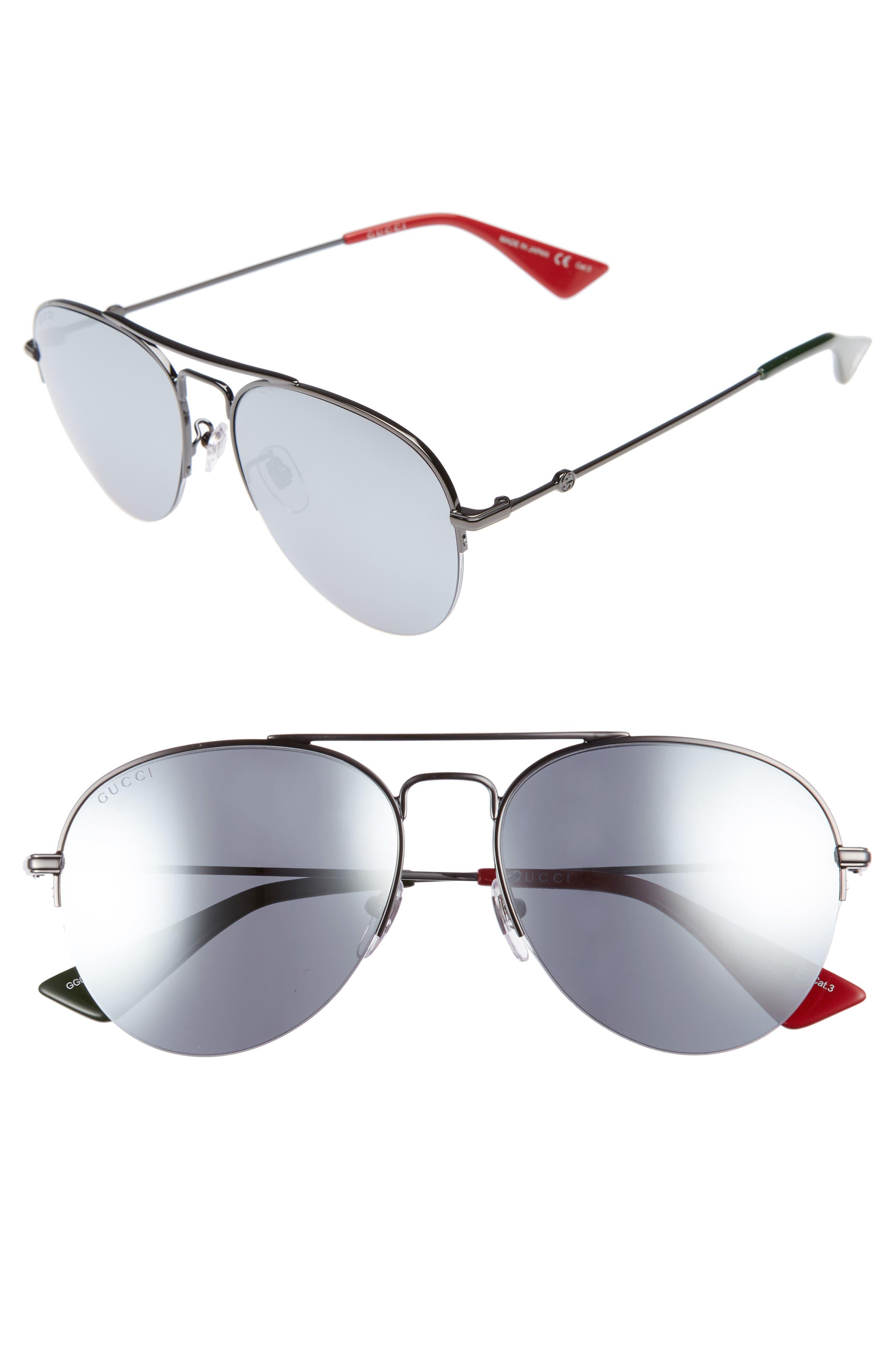 GUCCI, Pilot 56mm Aviator Sunglasses, Main thumbnail 1, color, 052