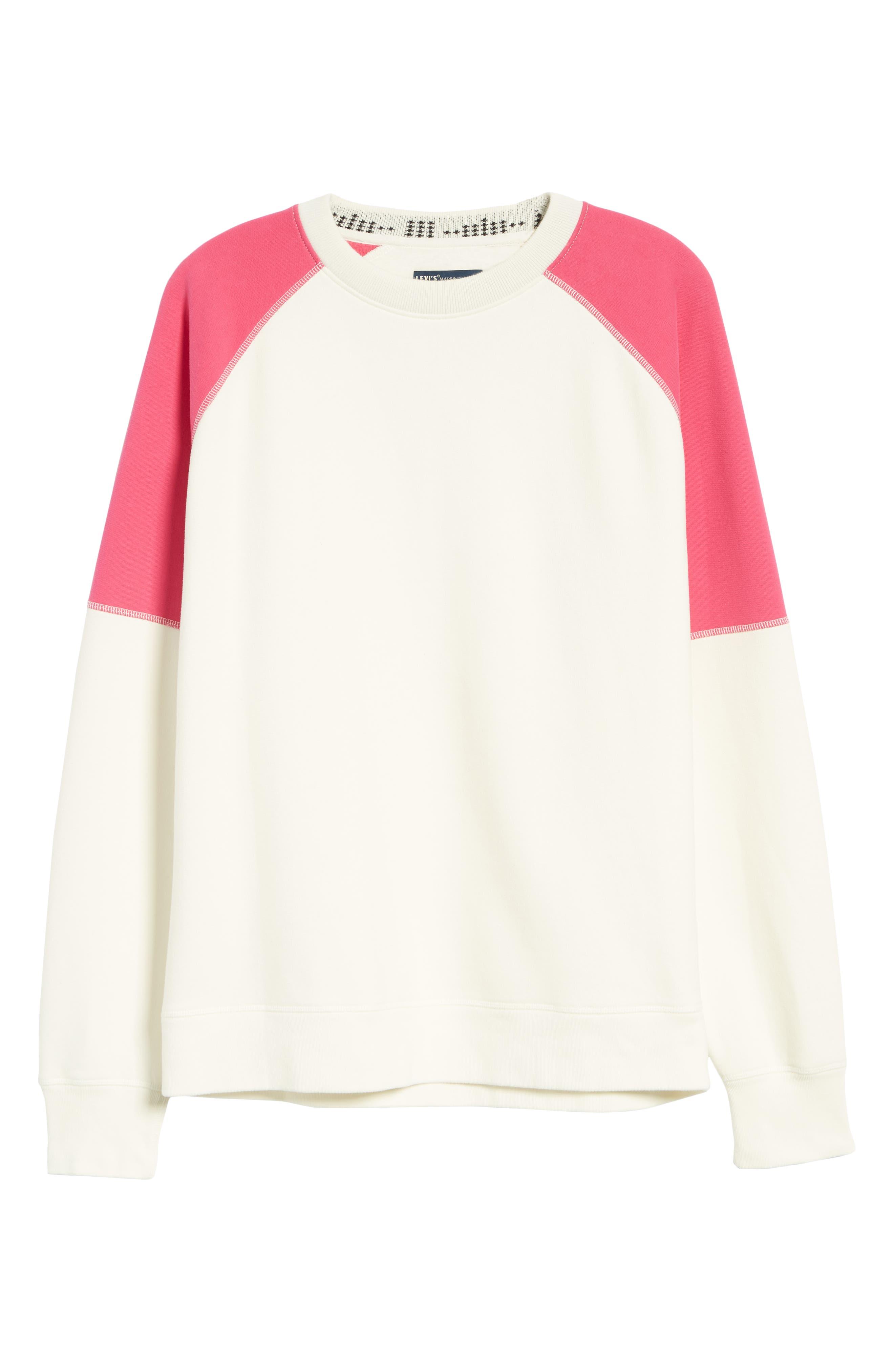 LEVI'S<SUP>®</SUP> MADE & CRAFTED<SUP>™</SUP>, Regular Fit Raglan Sweatshirt, Alternate thumbnail 6, color, WHITE ALYSSUM