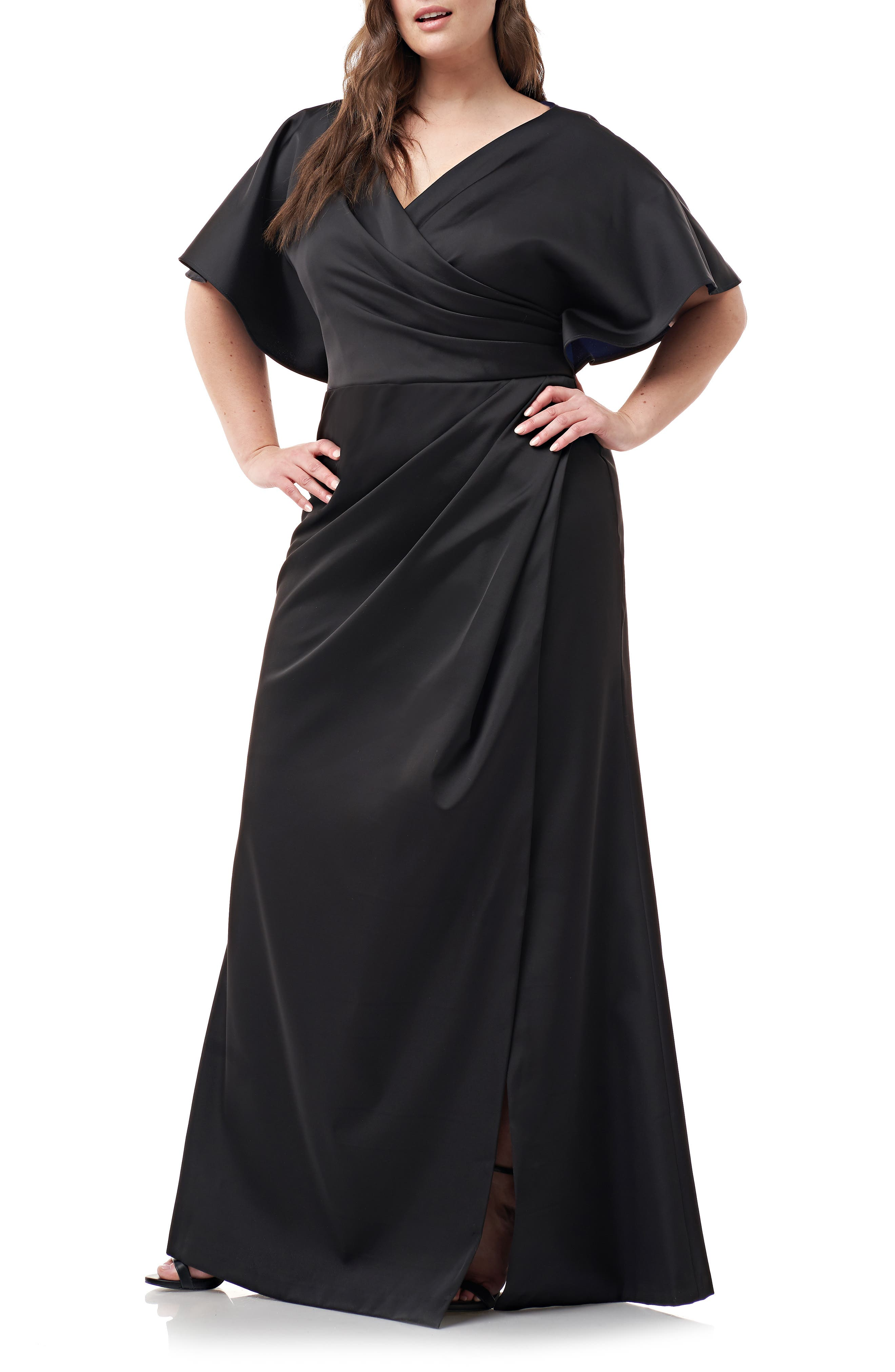 Plus Size Js Collections Faux Wrap Bonded Satin Gown, Black