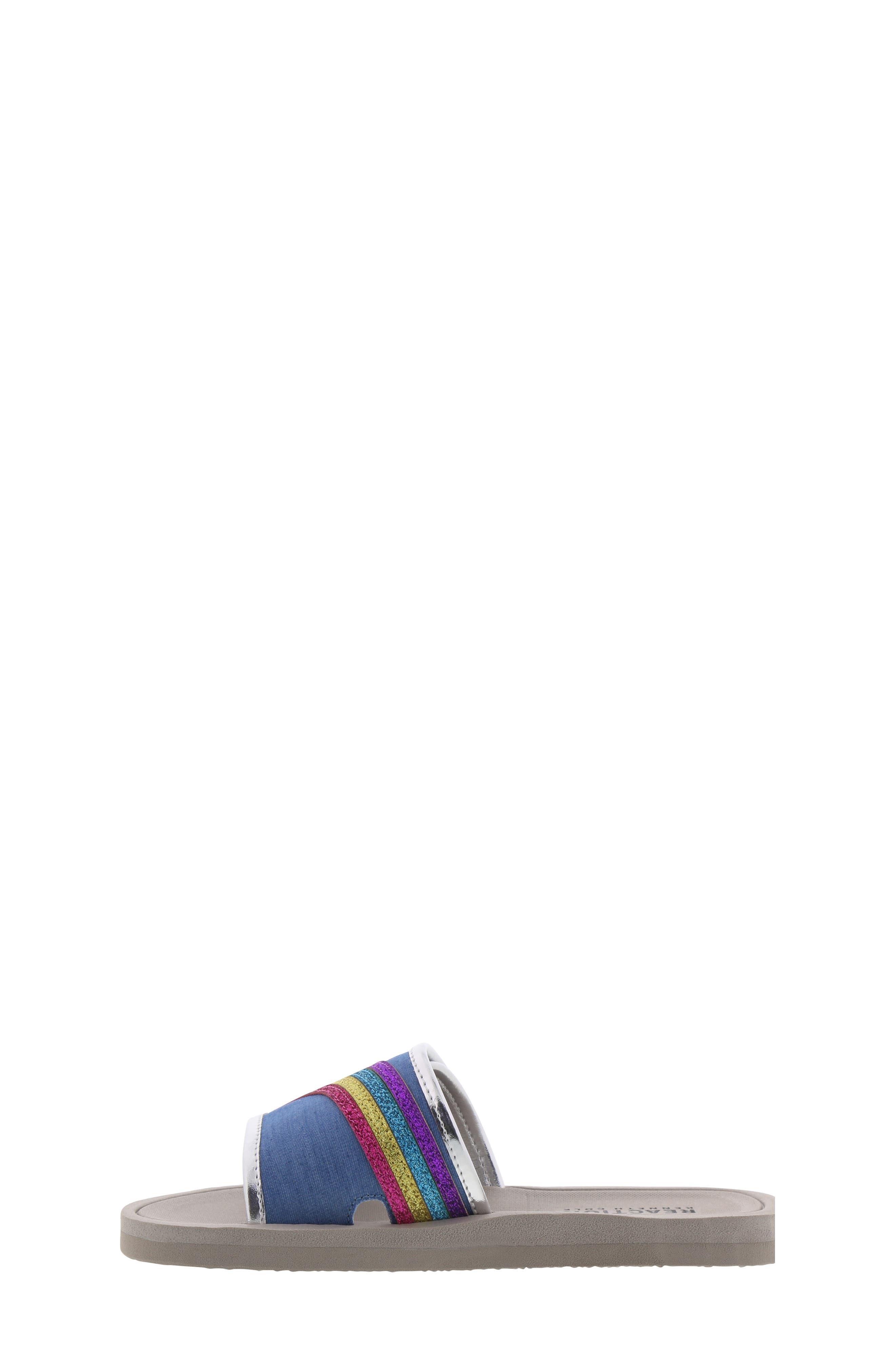 REACTION KENNETH COLE, Elise Karla Rainbow Slide Sandal, Alternate thumbnail 8, color, DENIM