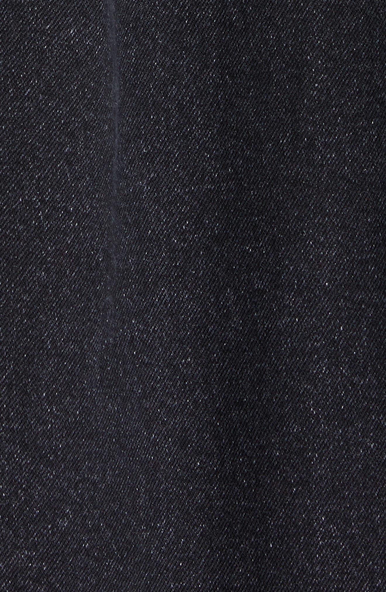 JUUN.J, Denim Shirt with Detachable Hood, Alternate thumbnail 5, color, BLACK