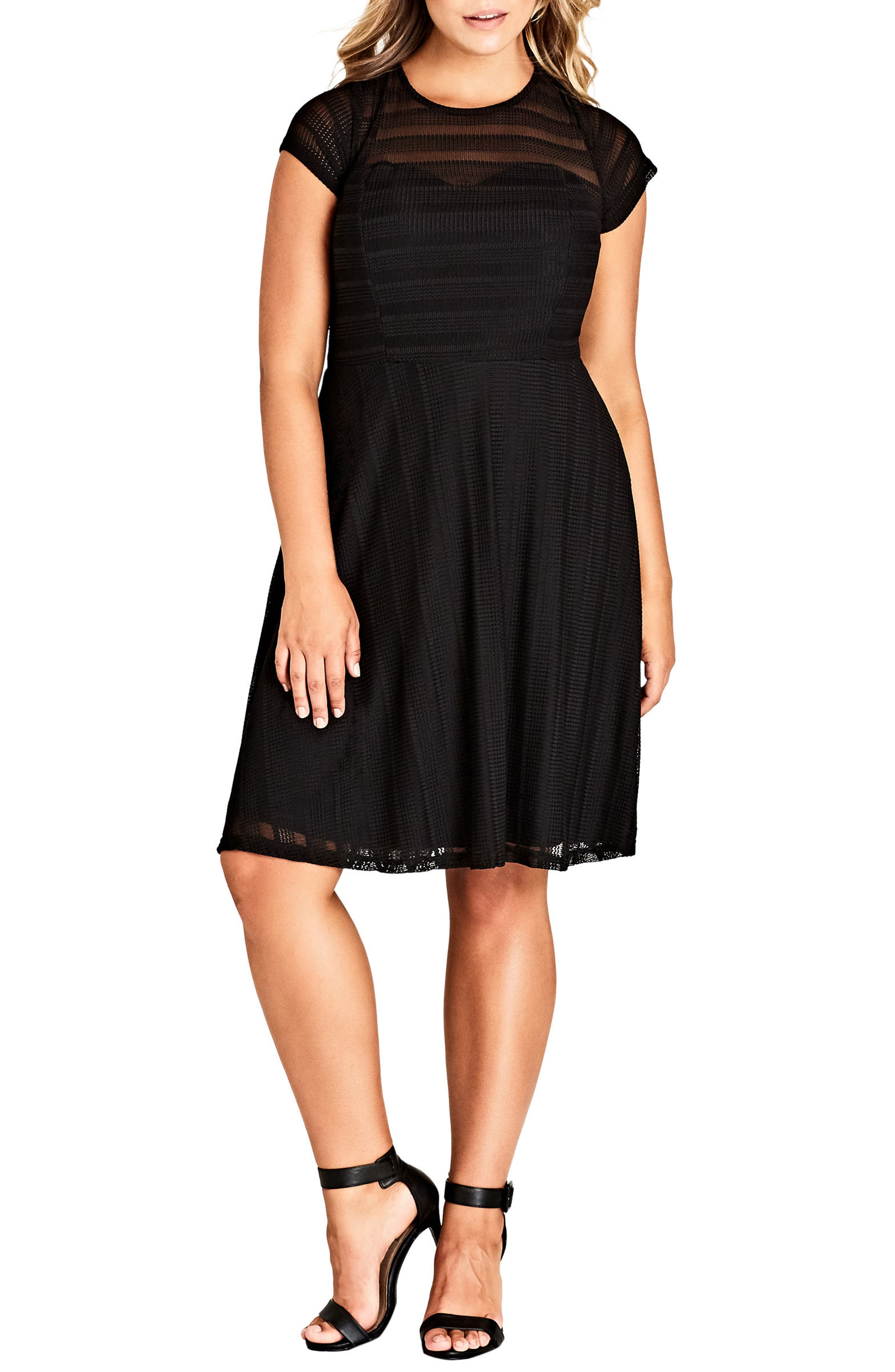 CITY CHIC Textured Heart Dress, Main, color, BLACK