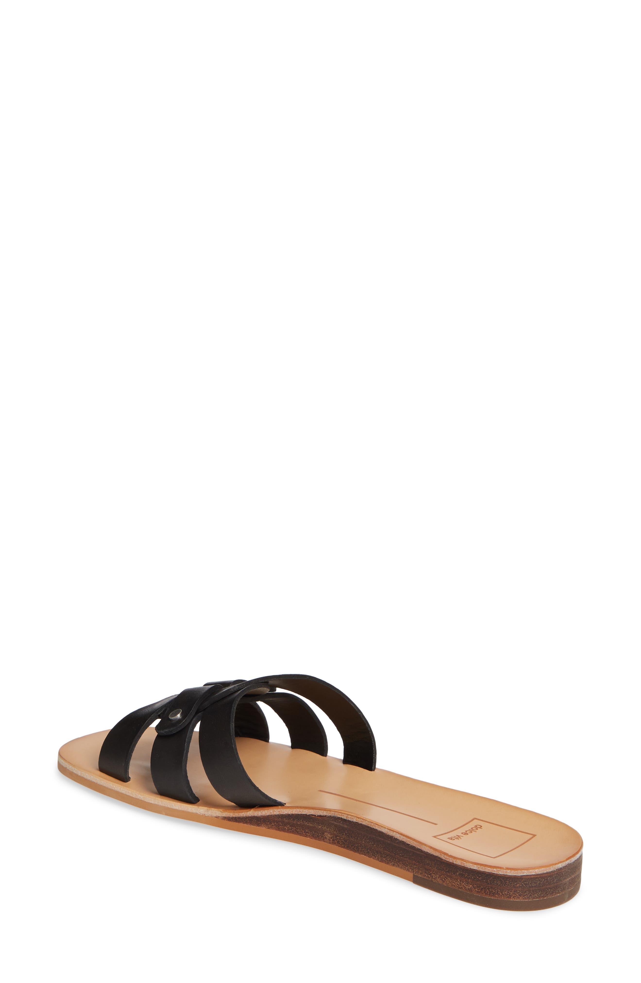 DOLCE VITA, Cait Slide Sandal, Alternate thumbnail 2, color, BLACK LEATHER
