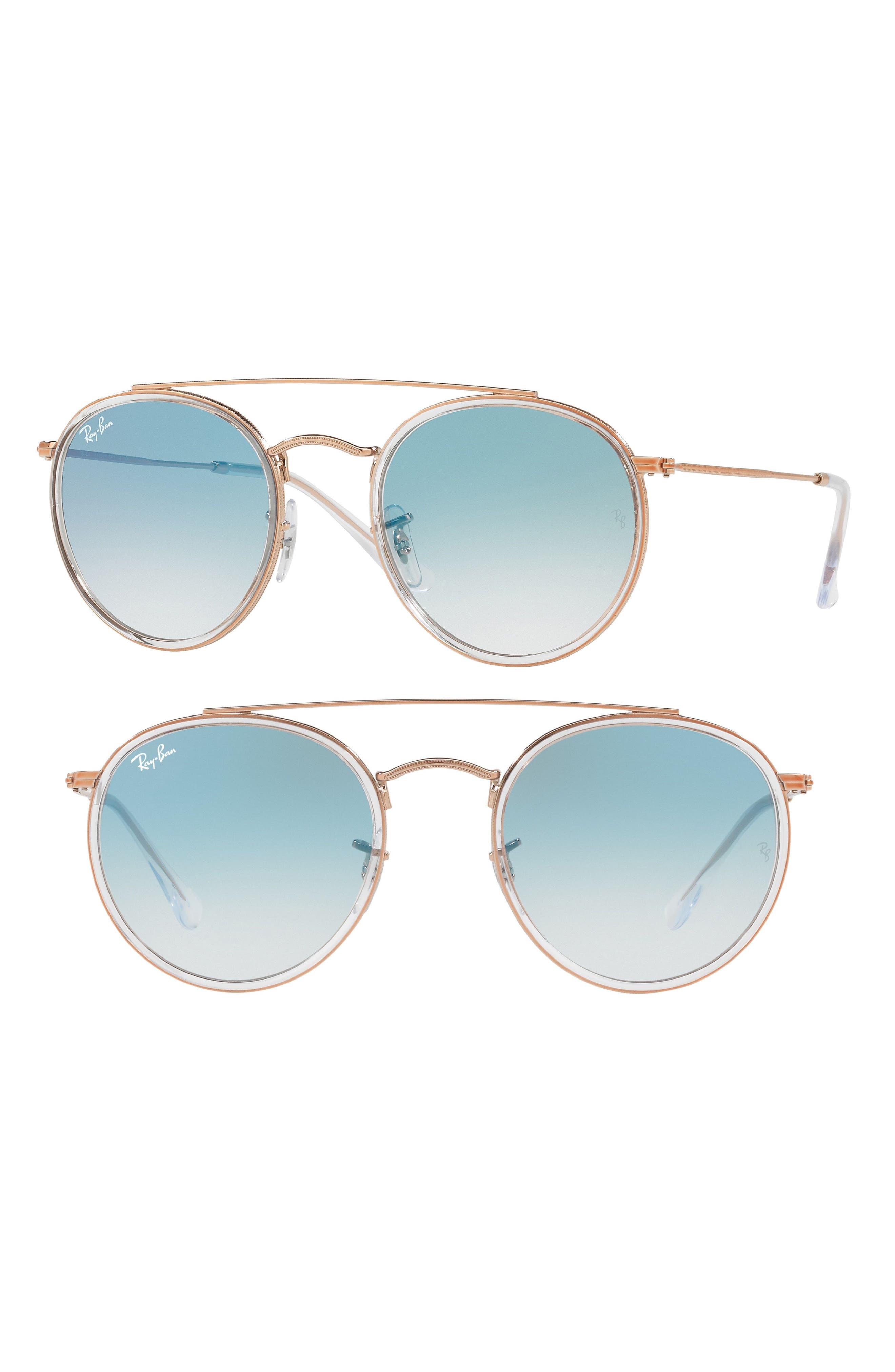 RAY-BAN, 51mm Aviator Gradient Lens Sunglasses, Main thumbnail 1, color, BLUE TRANSPARENT