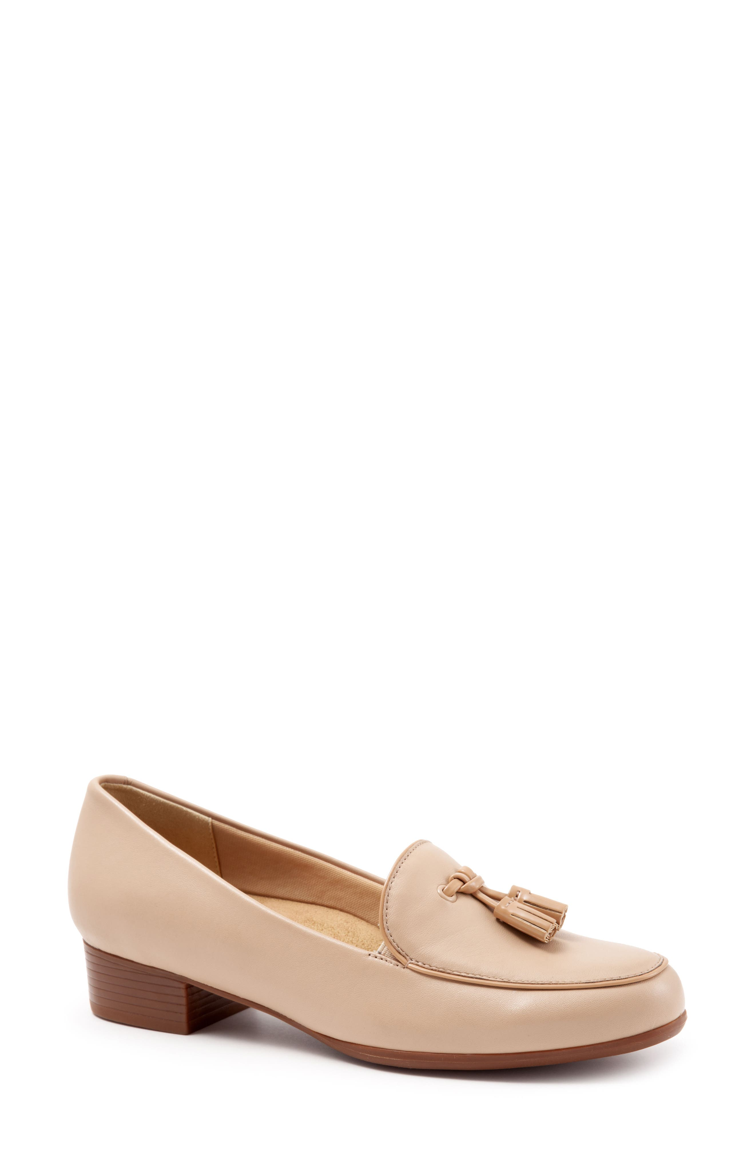 TROTTERS, Mary Tassel Loafer, Main thumbnail 1, color, NUDE LEATHER