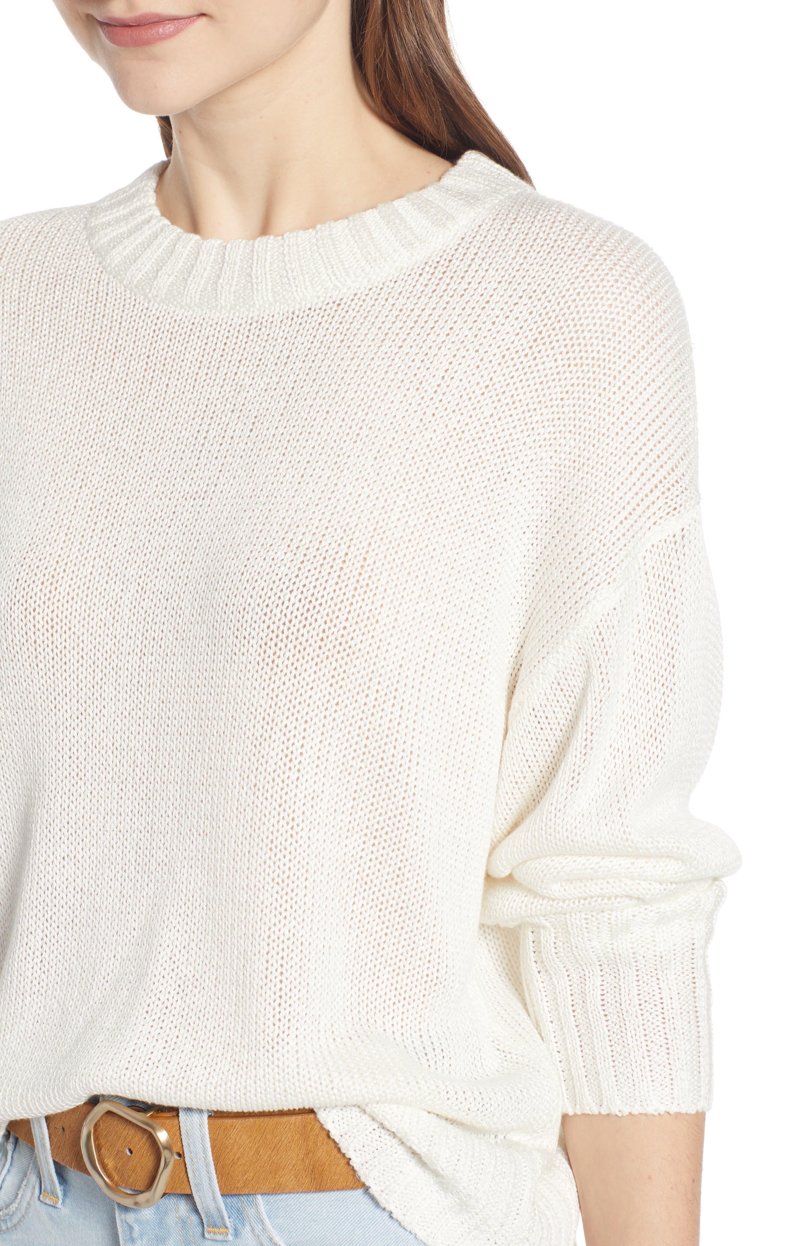 SOMETHING NAVY, Subtle Sheen Sweater, Alternate thumbnail 6, color, 100