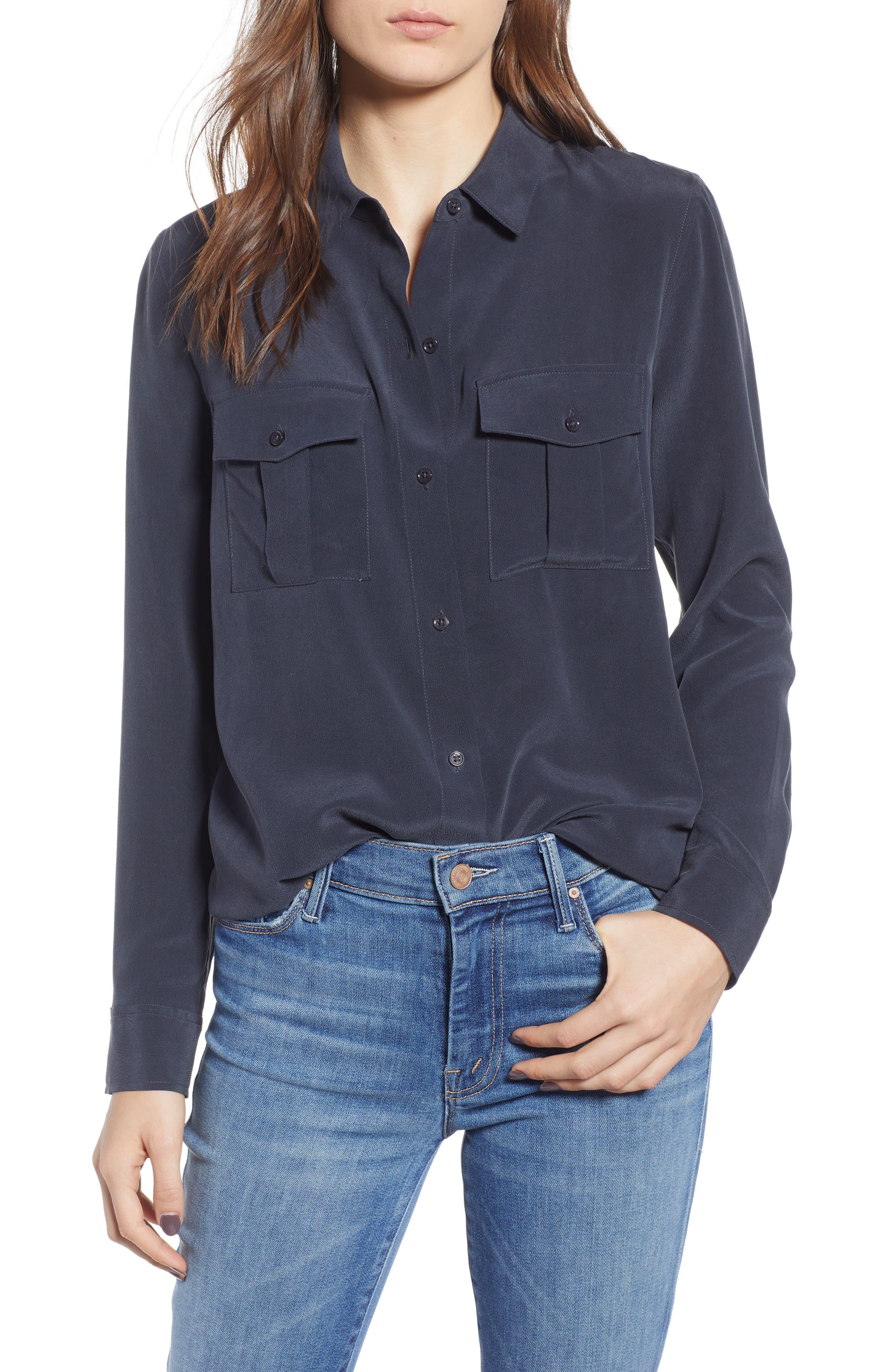 RAILS Rhett Silk Shirt, Main, color, 021