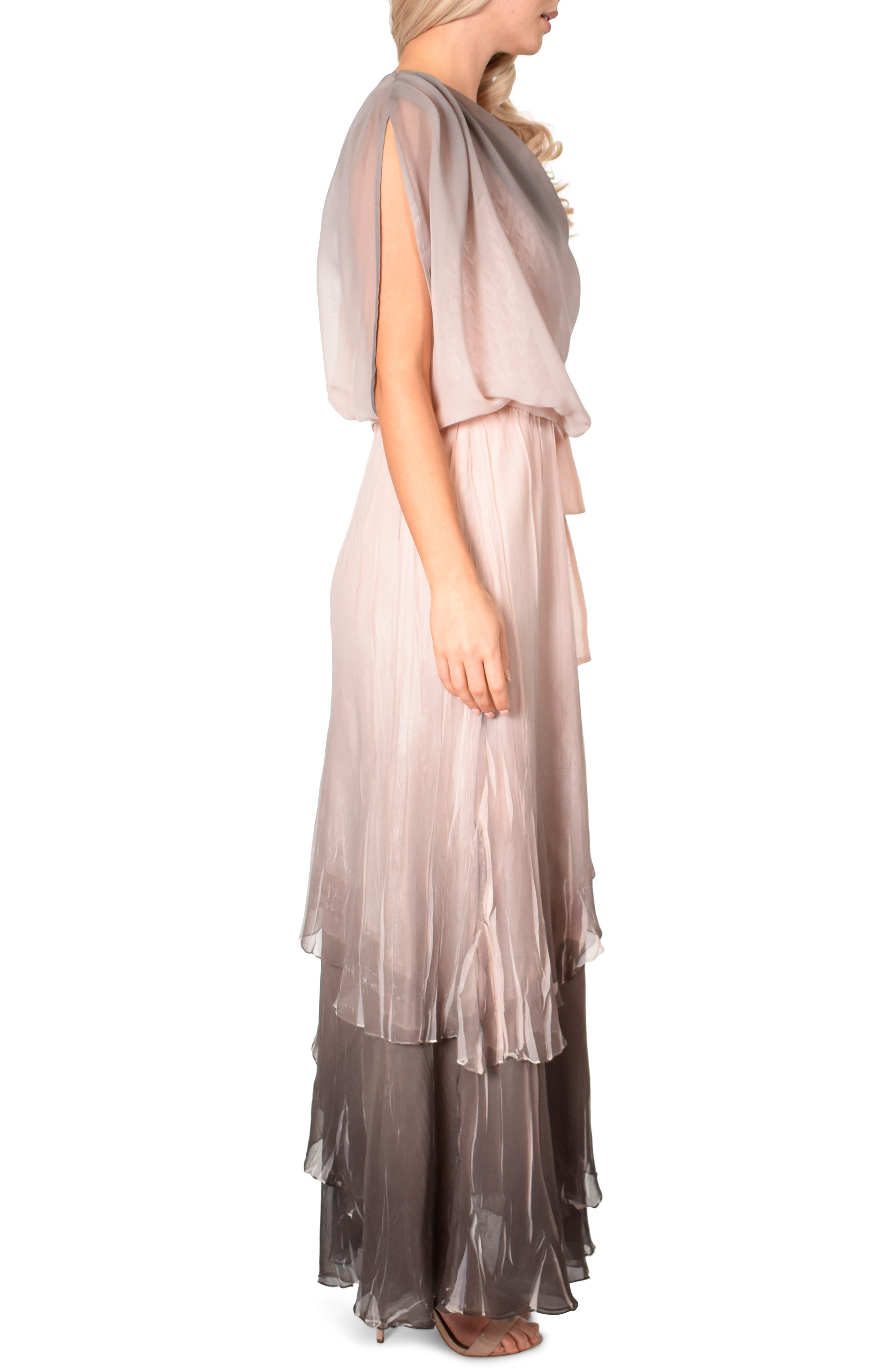 KOMAROV, Drape Chiffon Gown, Alternate thumbnail 3, color, 250