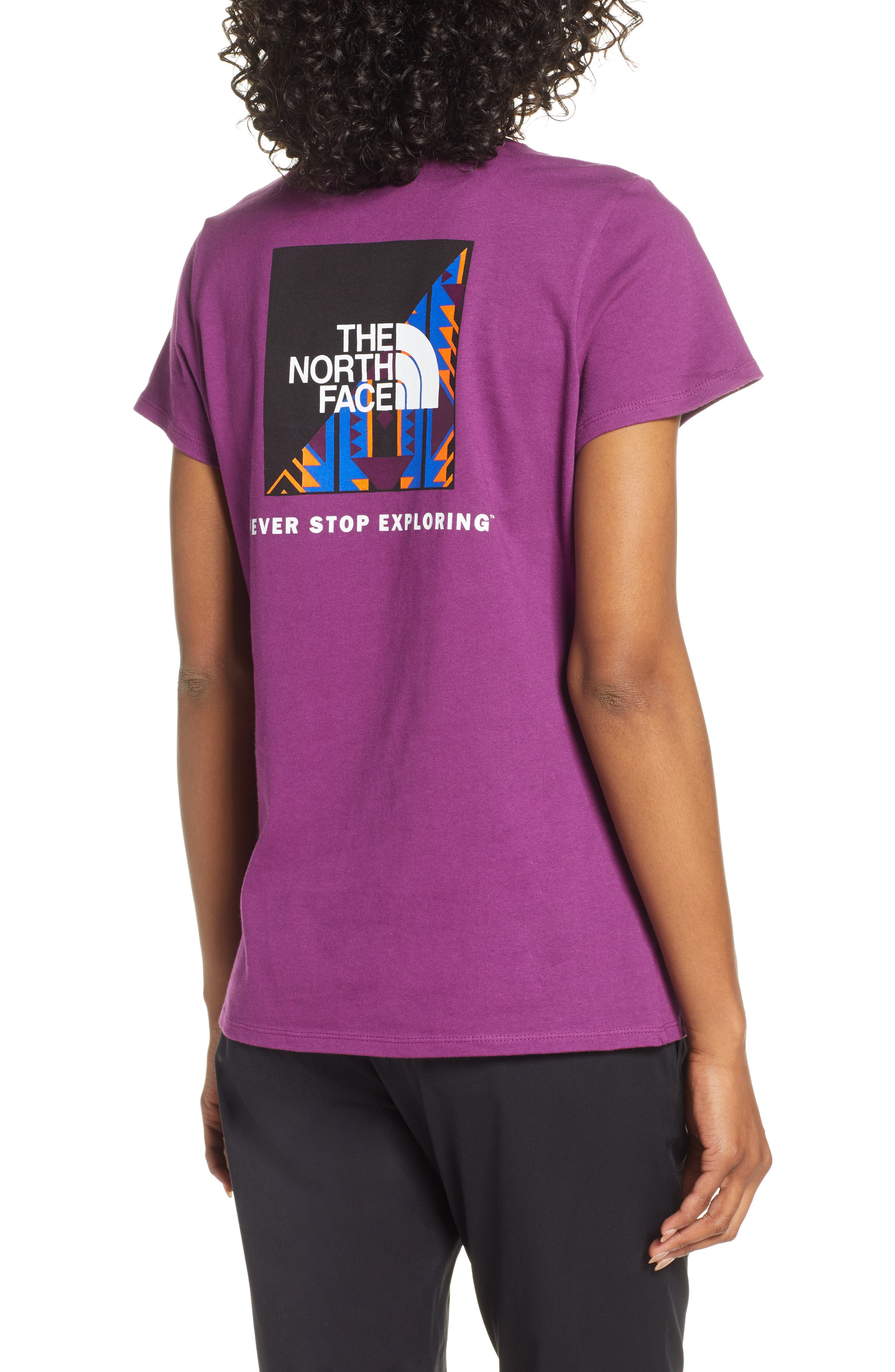 THE NORTH FACE, Red Box Tee, Alternate thumbnail 2, color, Phlox Purple/Aztec Blue