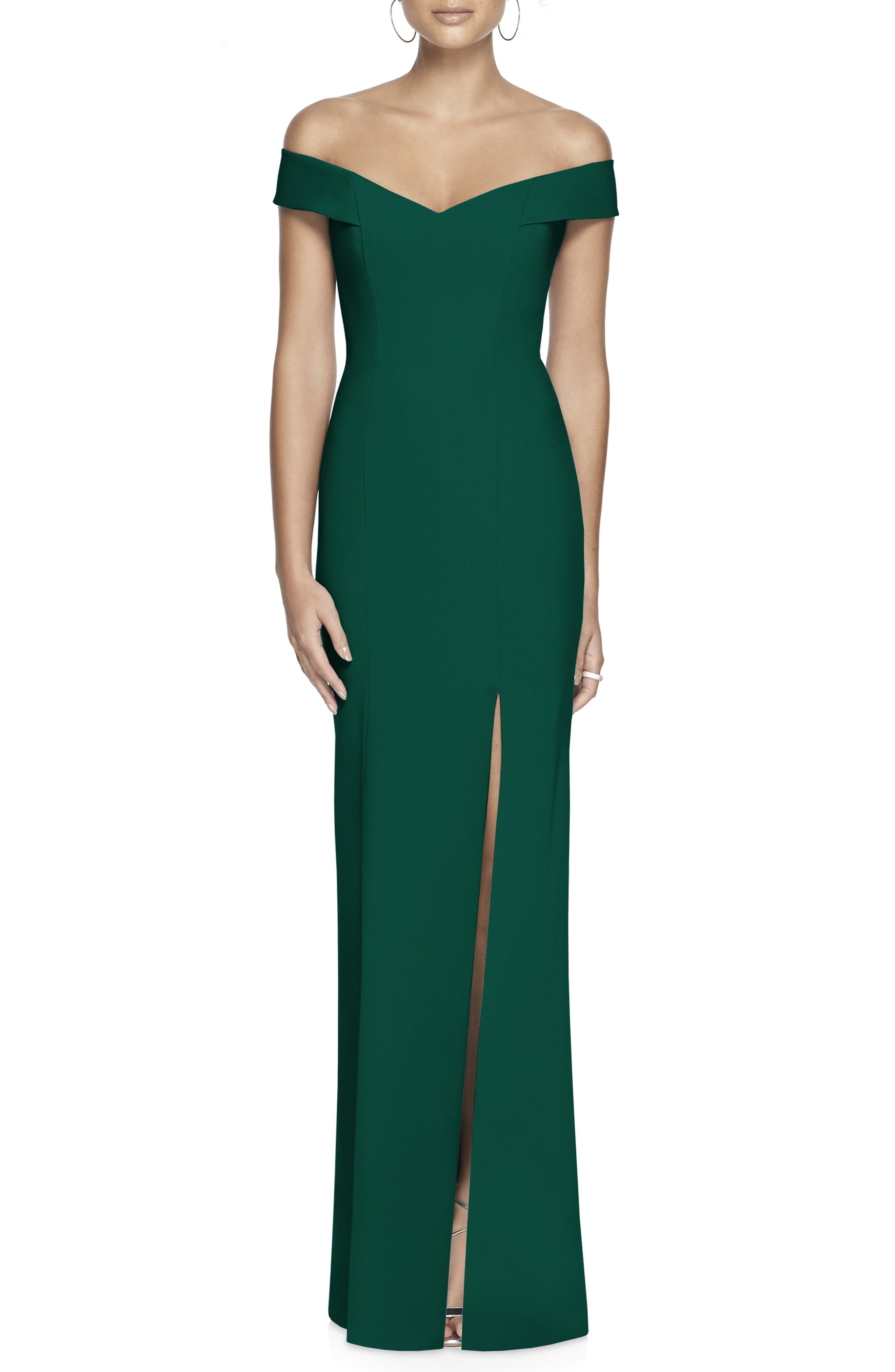 DESSY COLLECTION, Off the Shoulder Crossback Gown, Main thumbnail 1, color, HUNTER