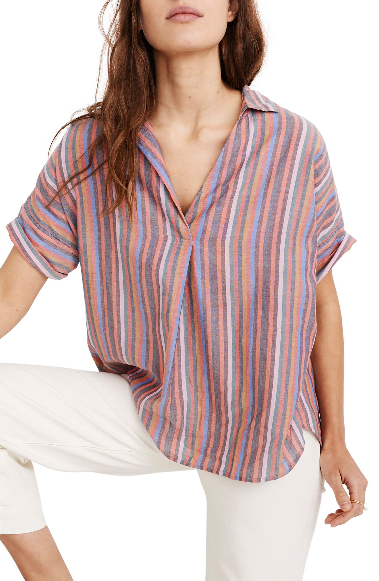 MADEWELL, Courier Rainbow Stripe Button Back Shirt, Main thumbnail 1, color, MULLED WINE SMITH STRIPE