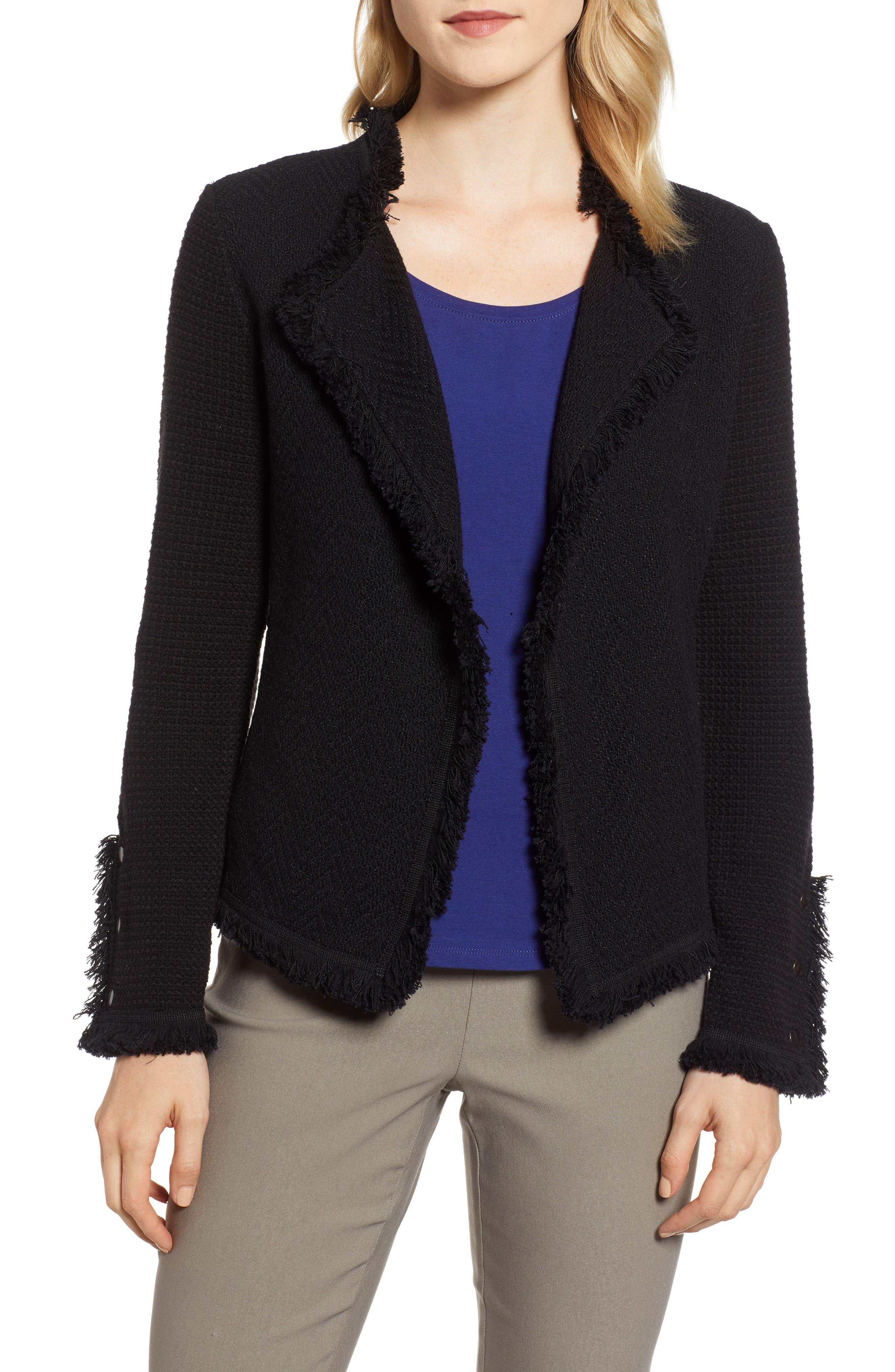 NIC+ZOE Fringe Mix Jacket, Main, color, BLACK ONYX