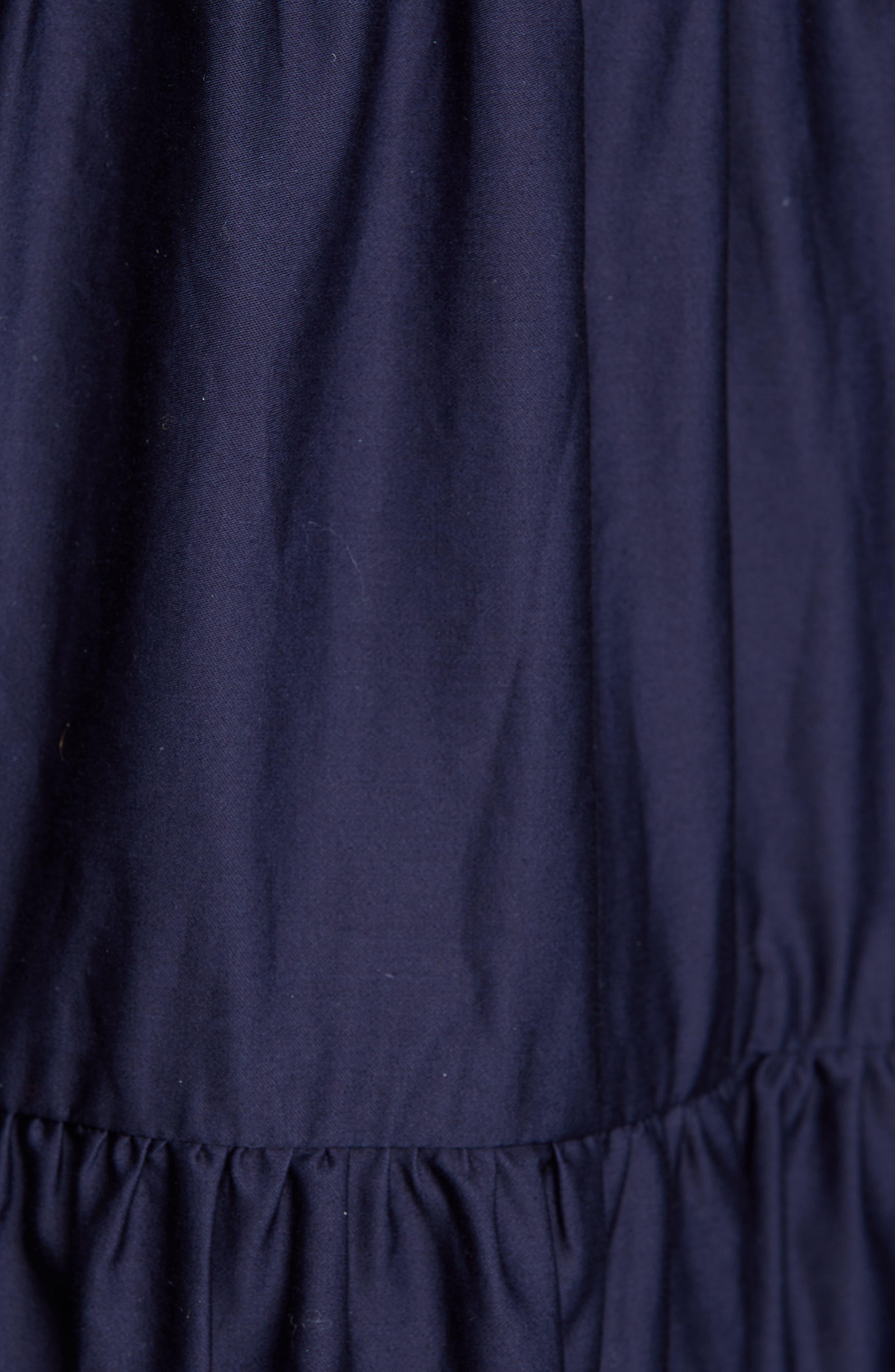 CO, Tiered Cotton Midi Dress, Alternate thumbnail 6, color, NAVY