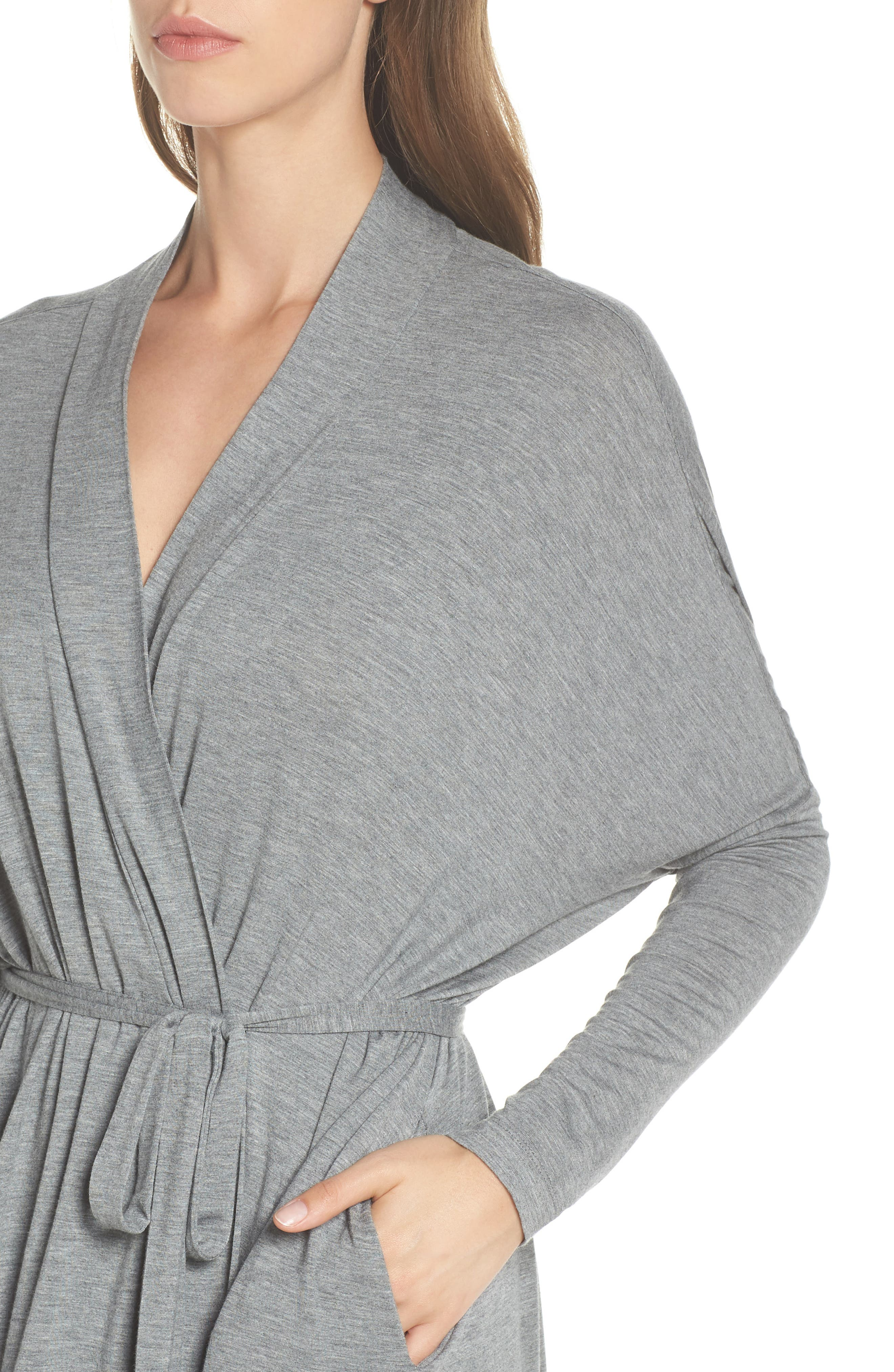UGG<SUP>®</SUP>, Delanie Robe, Alternate thumbnail 4, color, GREY HEATHER