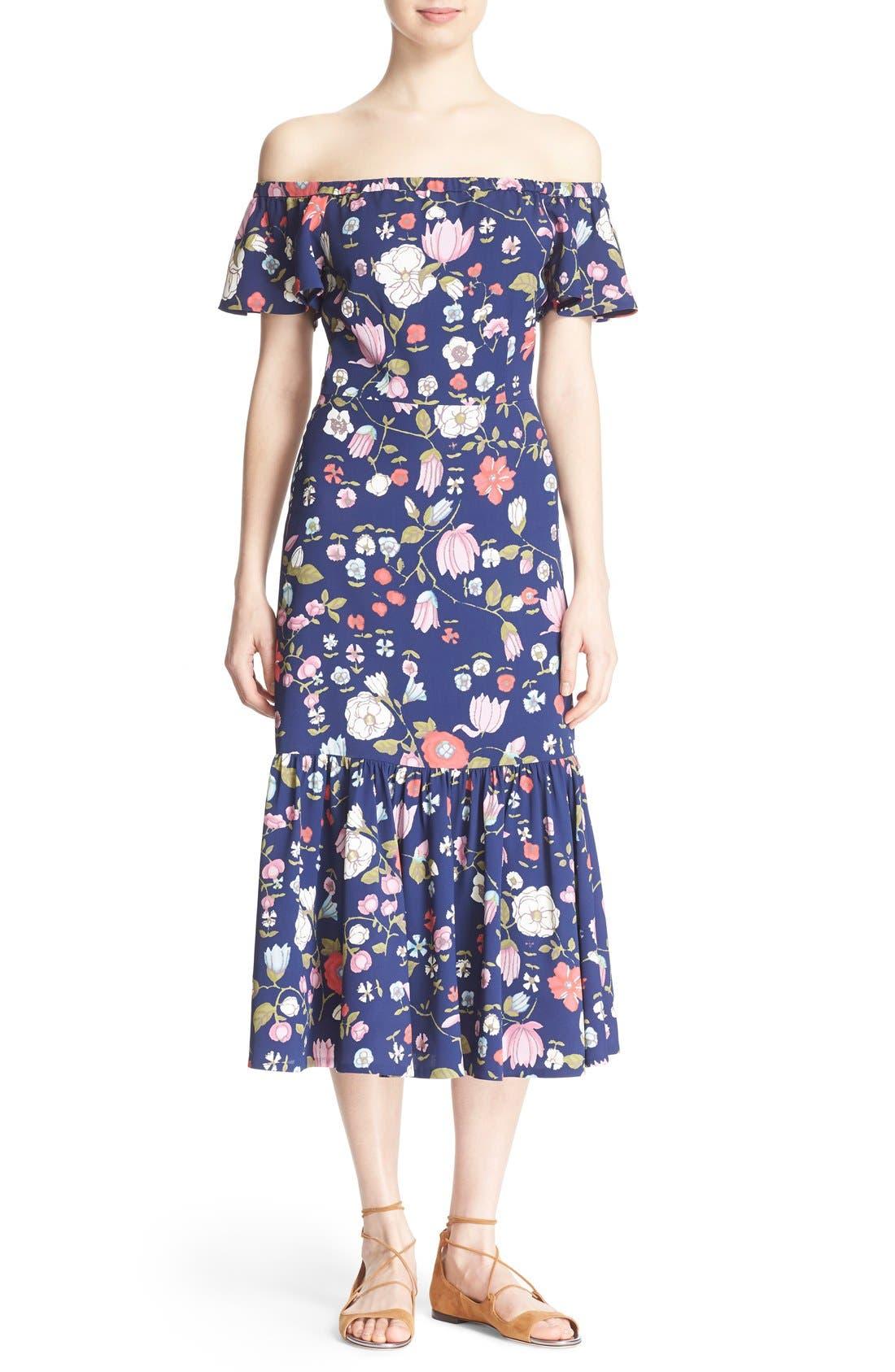 REBECCA TAYLOR, Off the Shoulder Floral Print Dress, Main thumbnail 1, color, 510