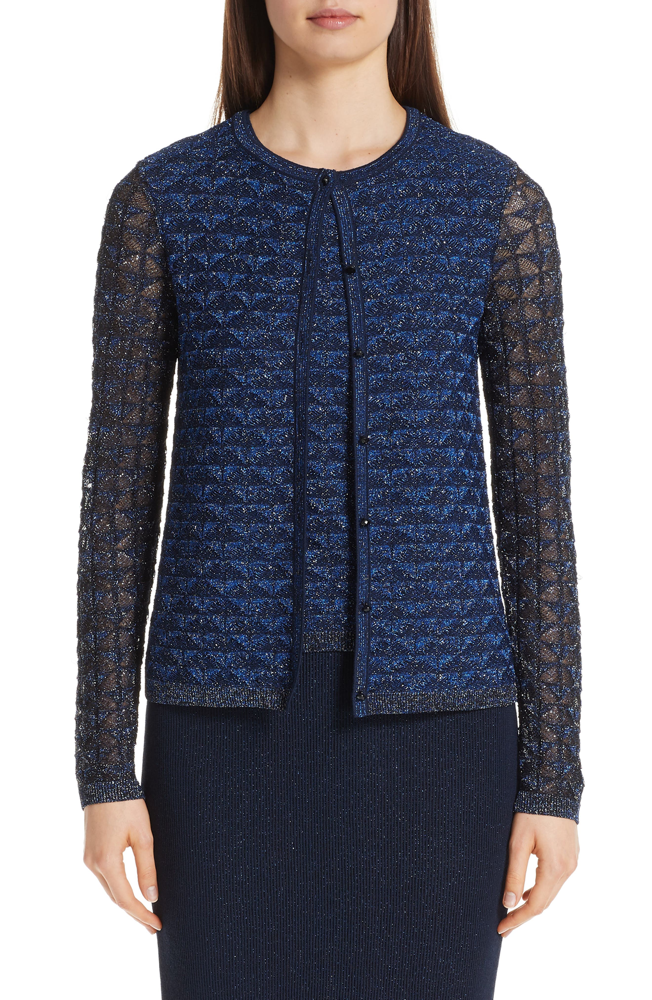 ST. JOHN COLLECTION Diamond Lace Knit Cardigan, Main, color, NAVY MULTI