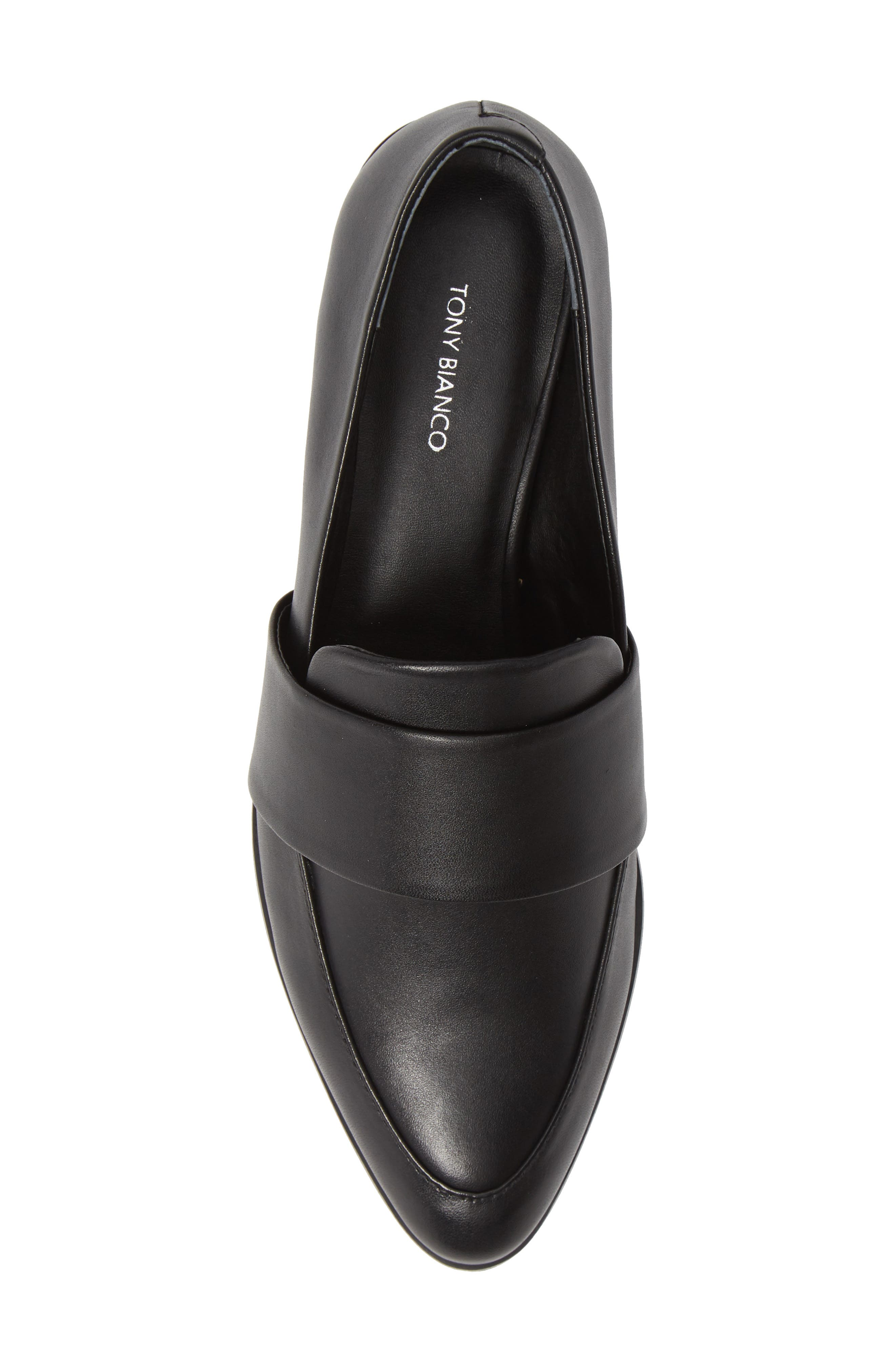TONY BIANCO, Mayfair Loafer, Alternate thumbnail 5, color, BLACK LEATHER