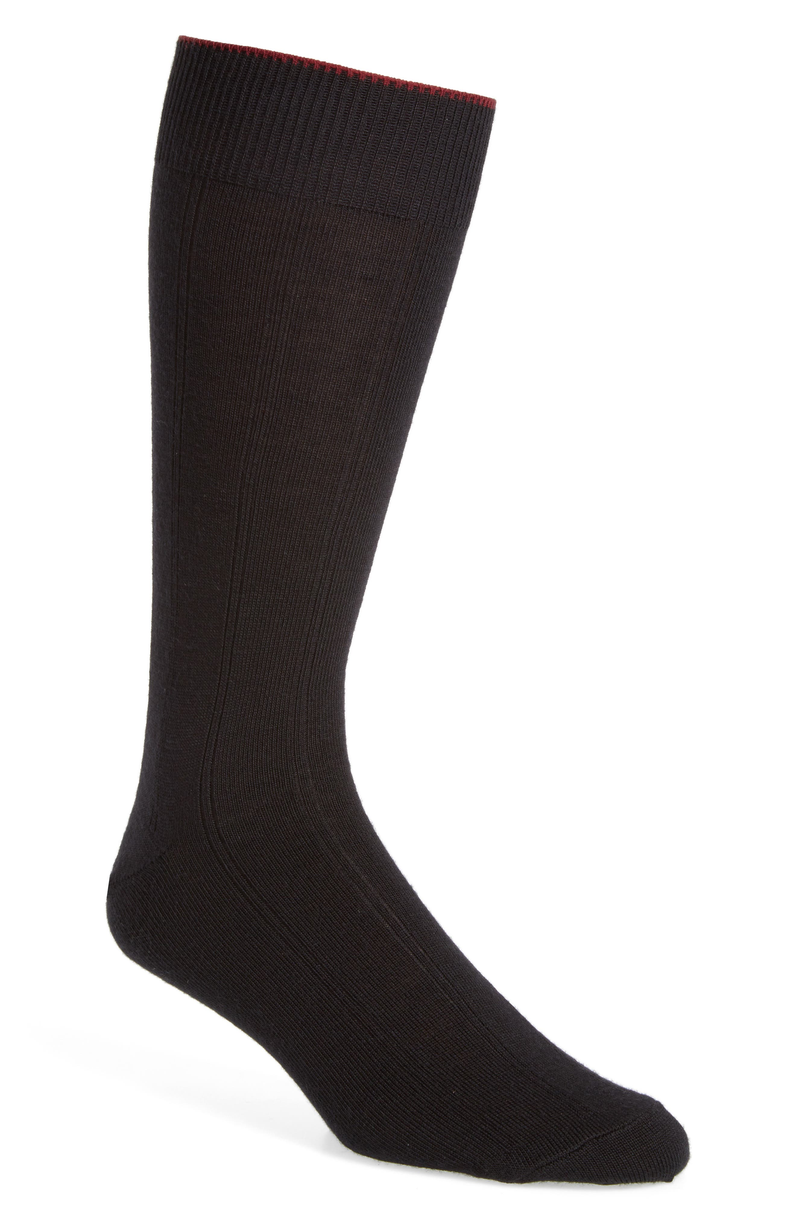 NORDSTROM MEN'S SHOP, Rib Wool Blend Socks, Main thumbnail 1, color, BLACK