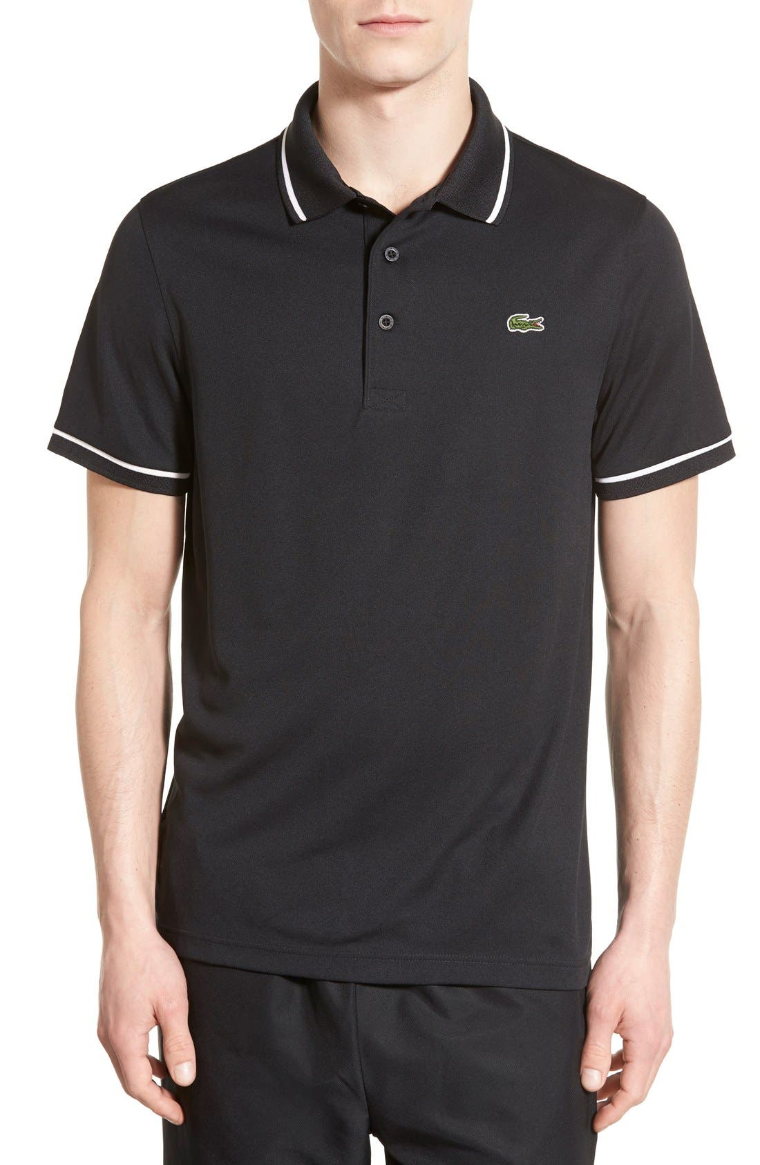 LACOSTE Tipped Quick Dry Piqué Polo, Main, color, BLACK/ WHITE