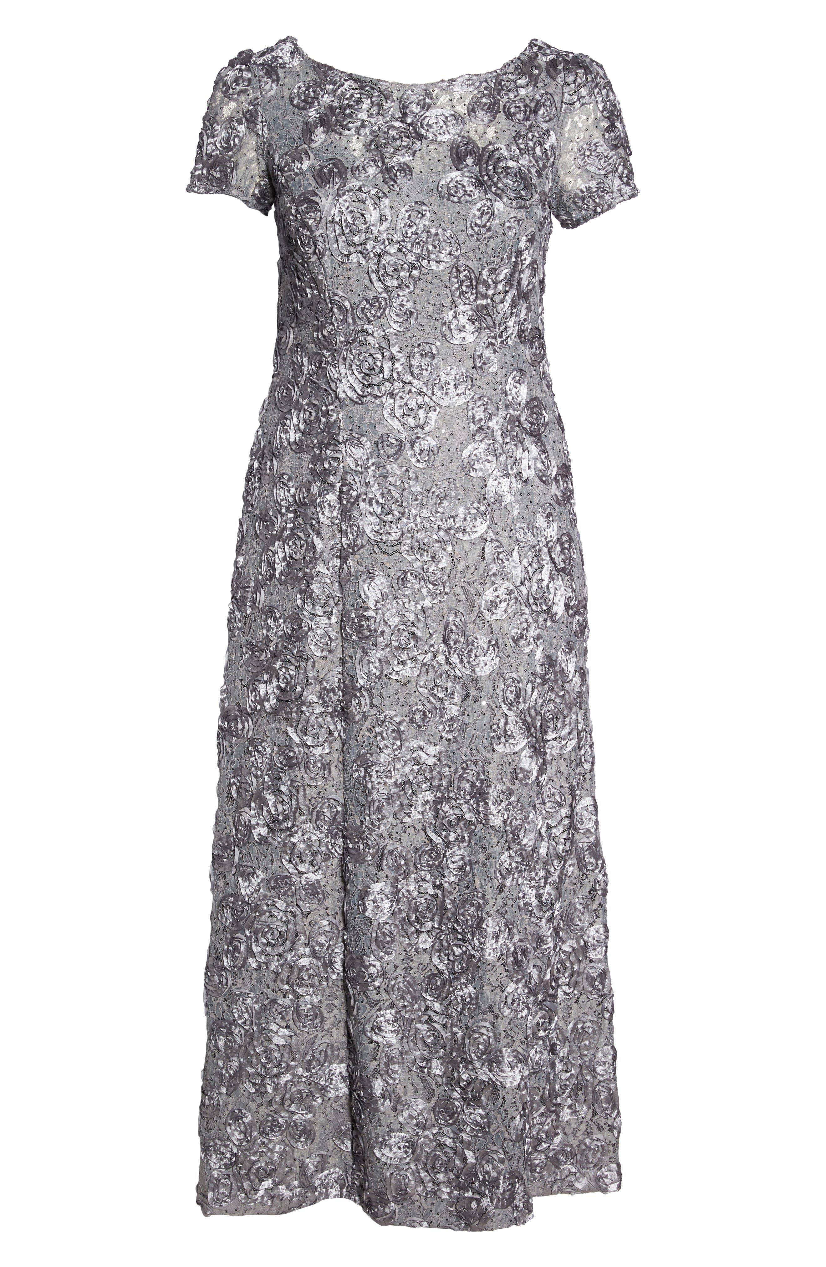 ALEX EVENINGS, Rosette Lace Short Sleeve A-Line Gown, Alternate thumbnail 7, color, DOVE