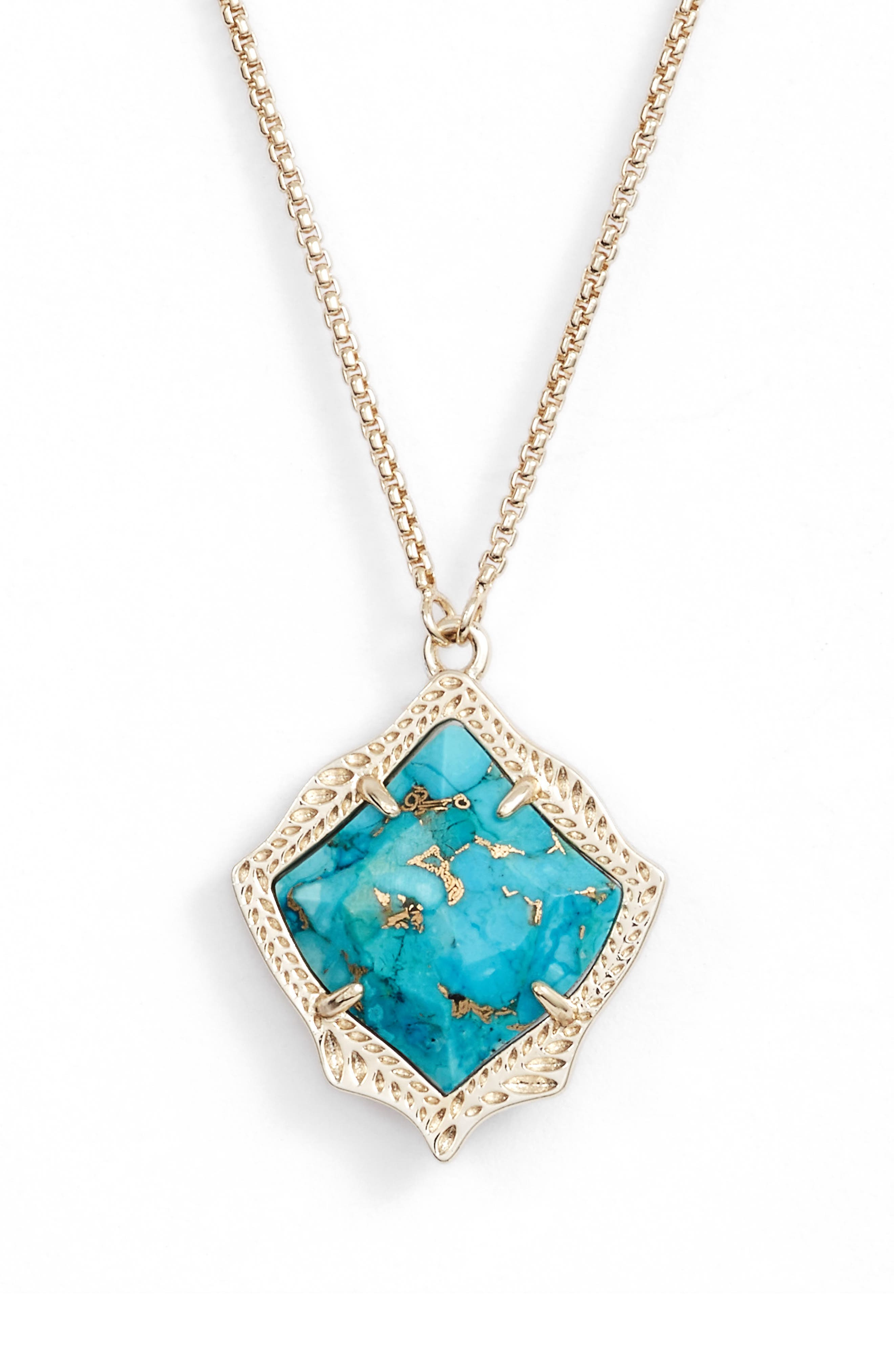 KENDRA SCOTT, Kacey Pendant Necklace, Main thumbnail 1, color, TURQUOISE MAGNESITE/ GOLD