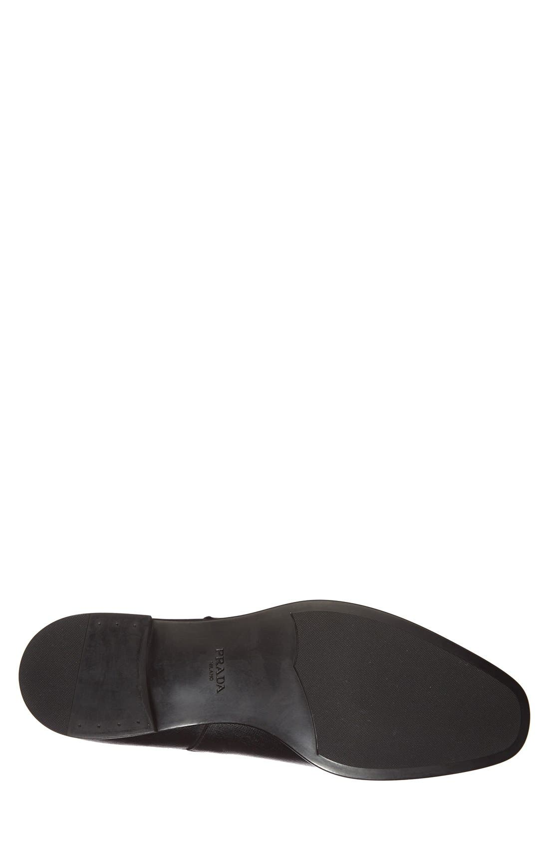 PRADA, Saffiano Leather Chelsea Boot, Alternate thumbnail 4, color, BLACK
