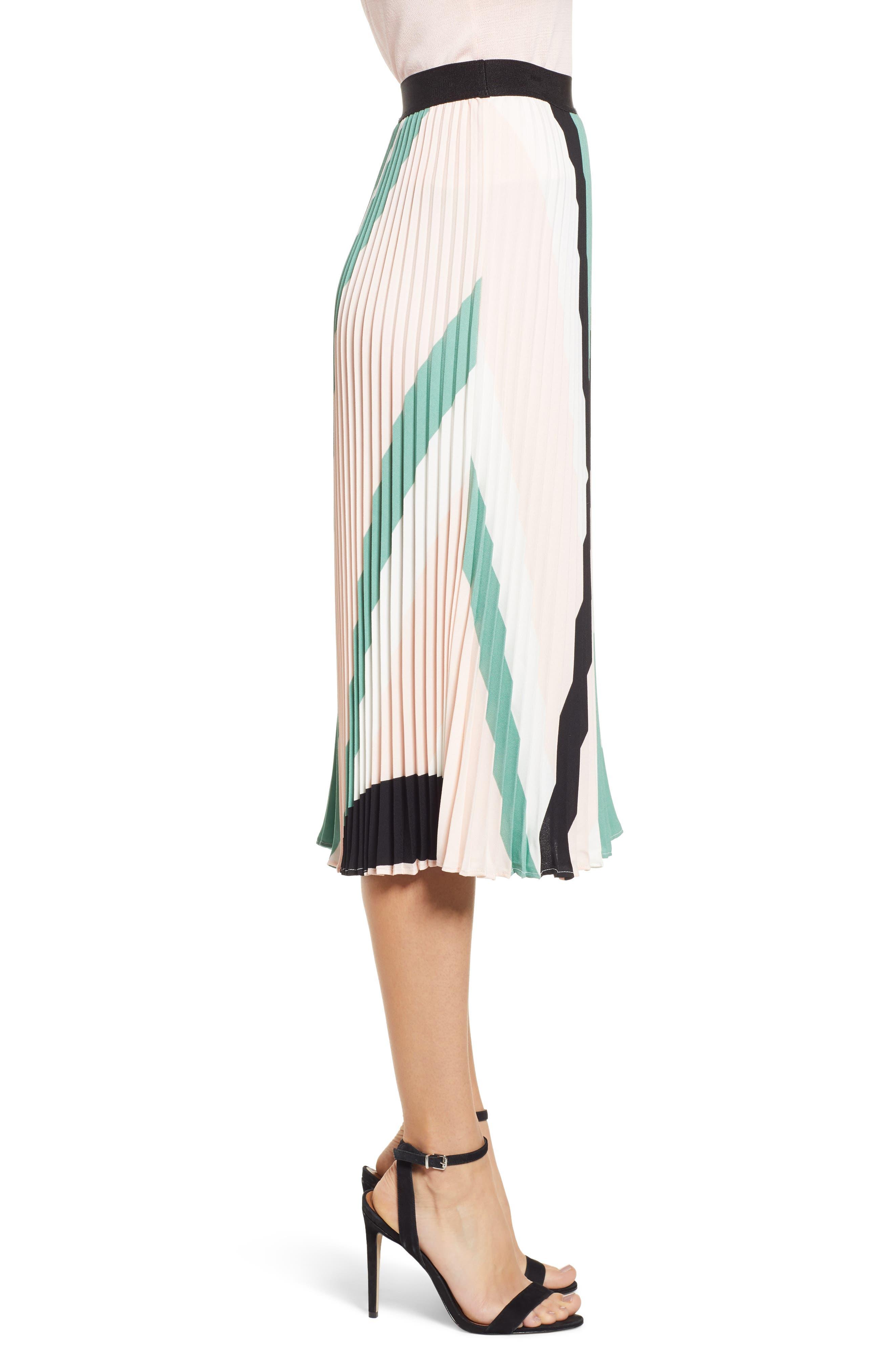 LEITH, Pleated Midi Skirt, Alternate thumbnail 4, color, PINK CHINTZ TRIANGLE STRIPE