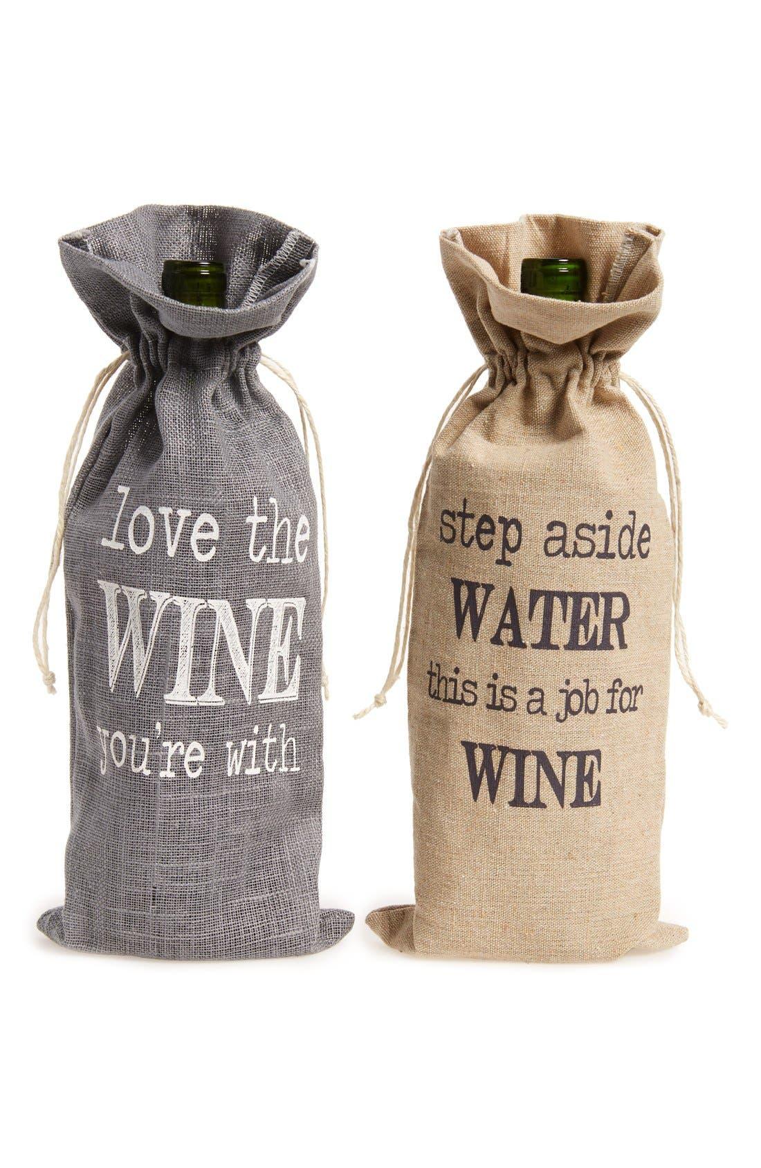 LEVTEX, Printed Burlap Wine Bags, Main thumbnail 1, color, 020