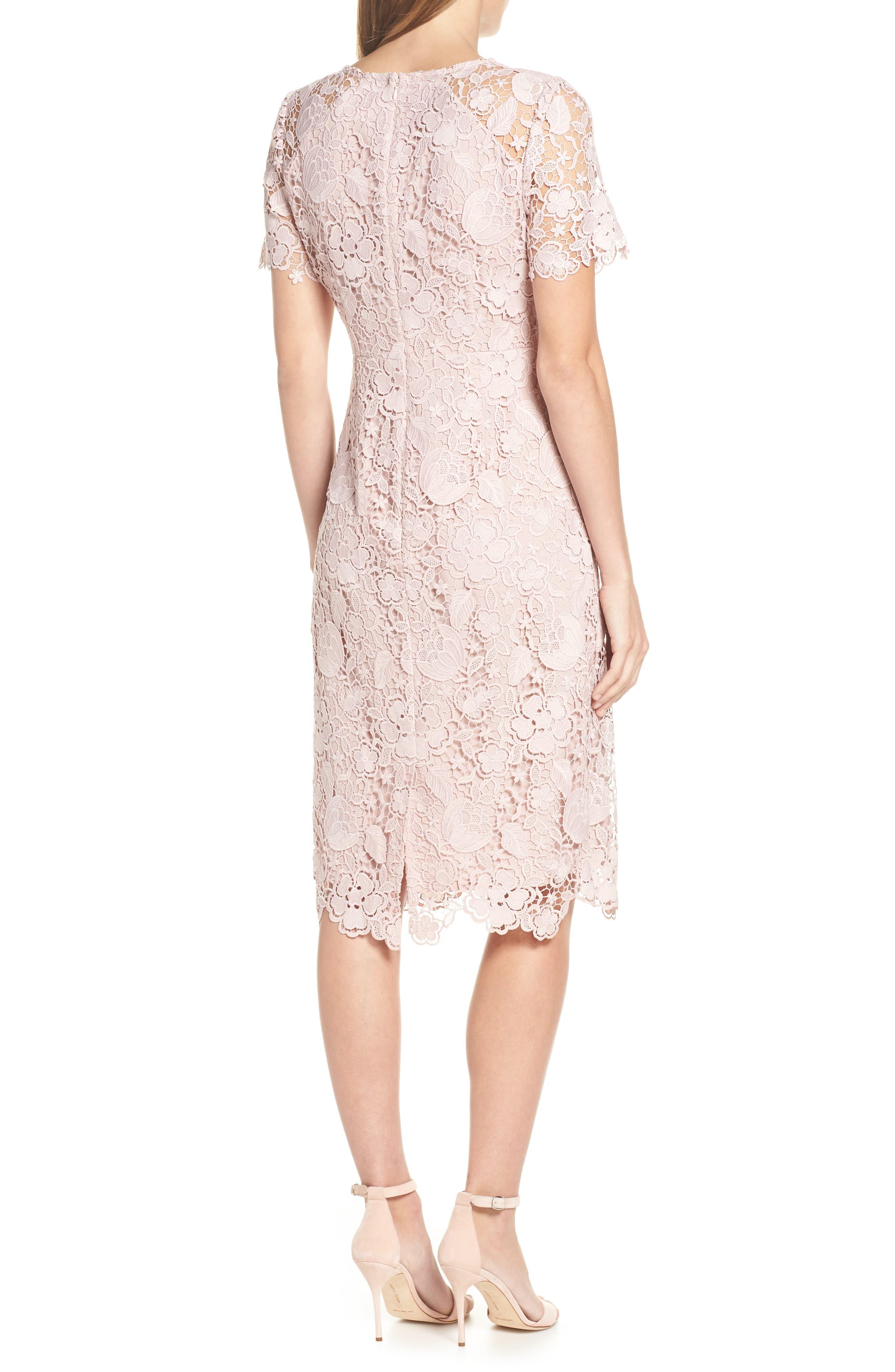 ELIZA J, Embroidered Lace Sheath Dress, Alternate thumbnail 2, color, NUDE