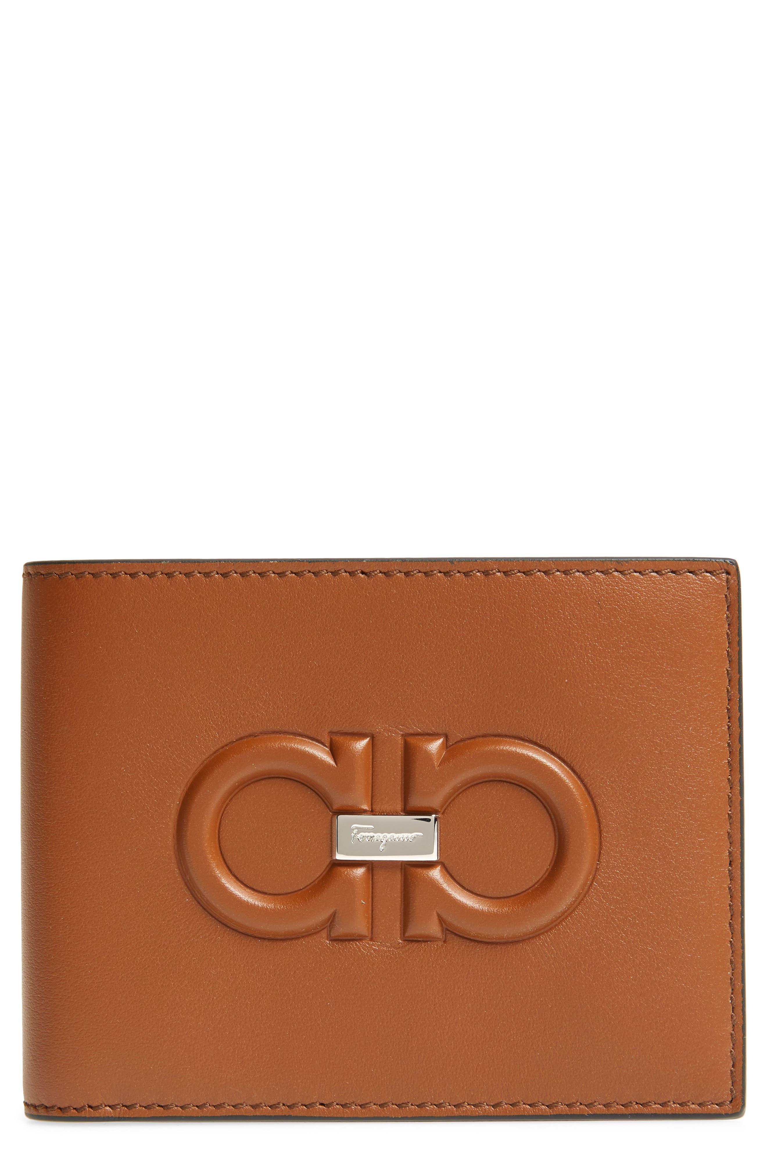 SALVATORE FERRAGAMO, Firenze Logo Leather Wallet, Main thumbnail 1, color, 200