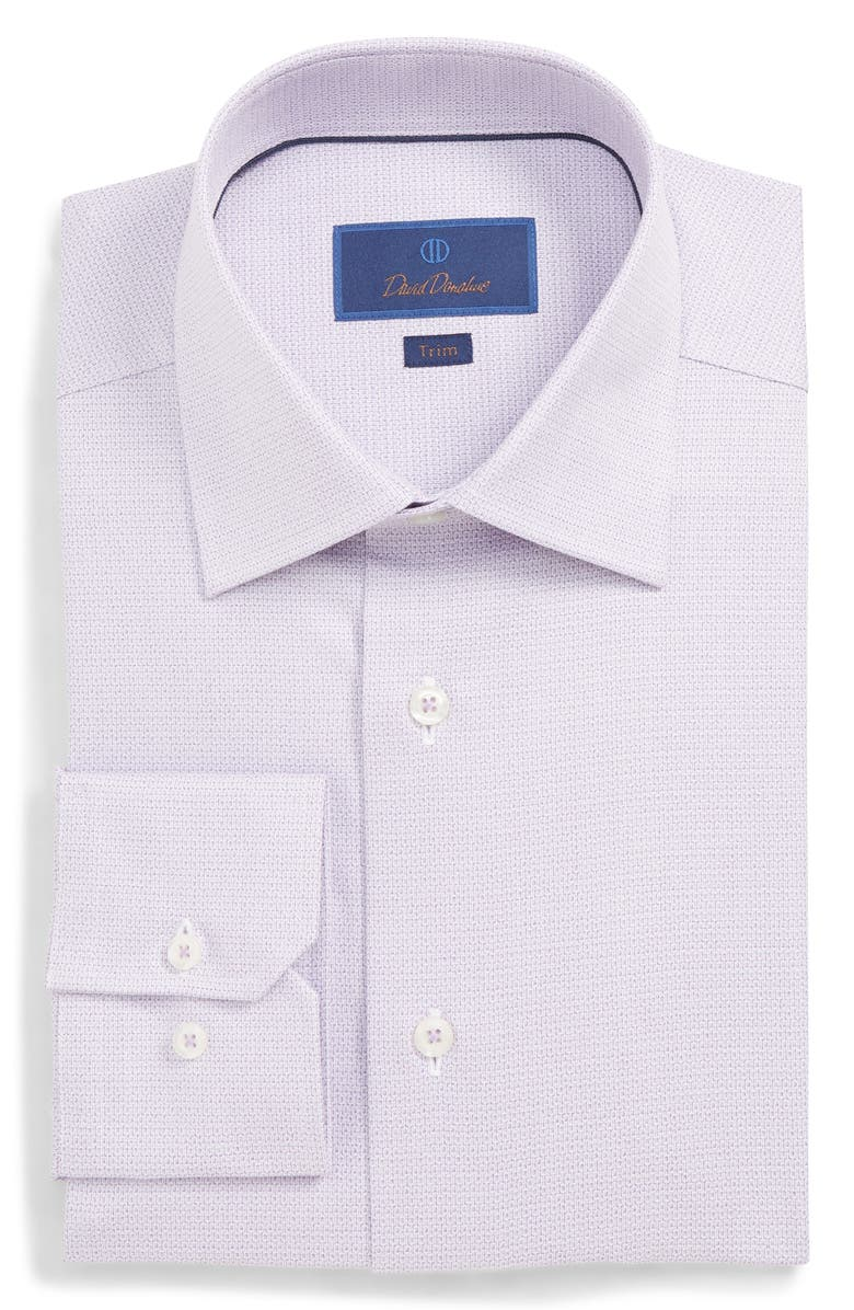 David Donahue Dresses TRIM FIT GEOMETRIC DRESS SHIRT