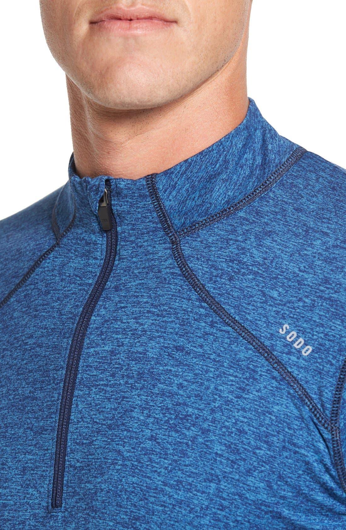 SODO, 'Elevate' Moisture Wicking Stretch Quarter Zip Pullover, Alternate thumbnail 5, color, OCEAN BLUE/ NAVY