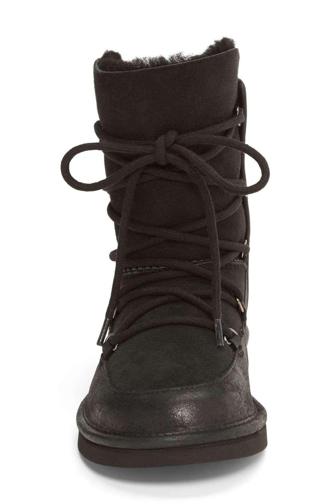UGG<SUP>®</SUP>, Lodge Water Resistant Lace-Up Boot, Alternate thumbnail 4, color, 001