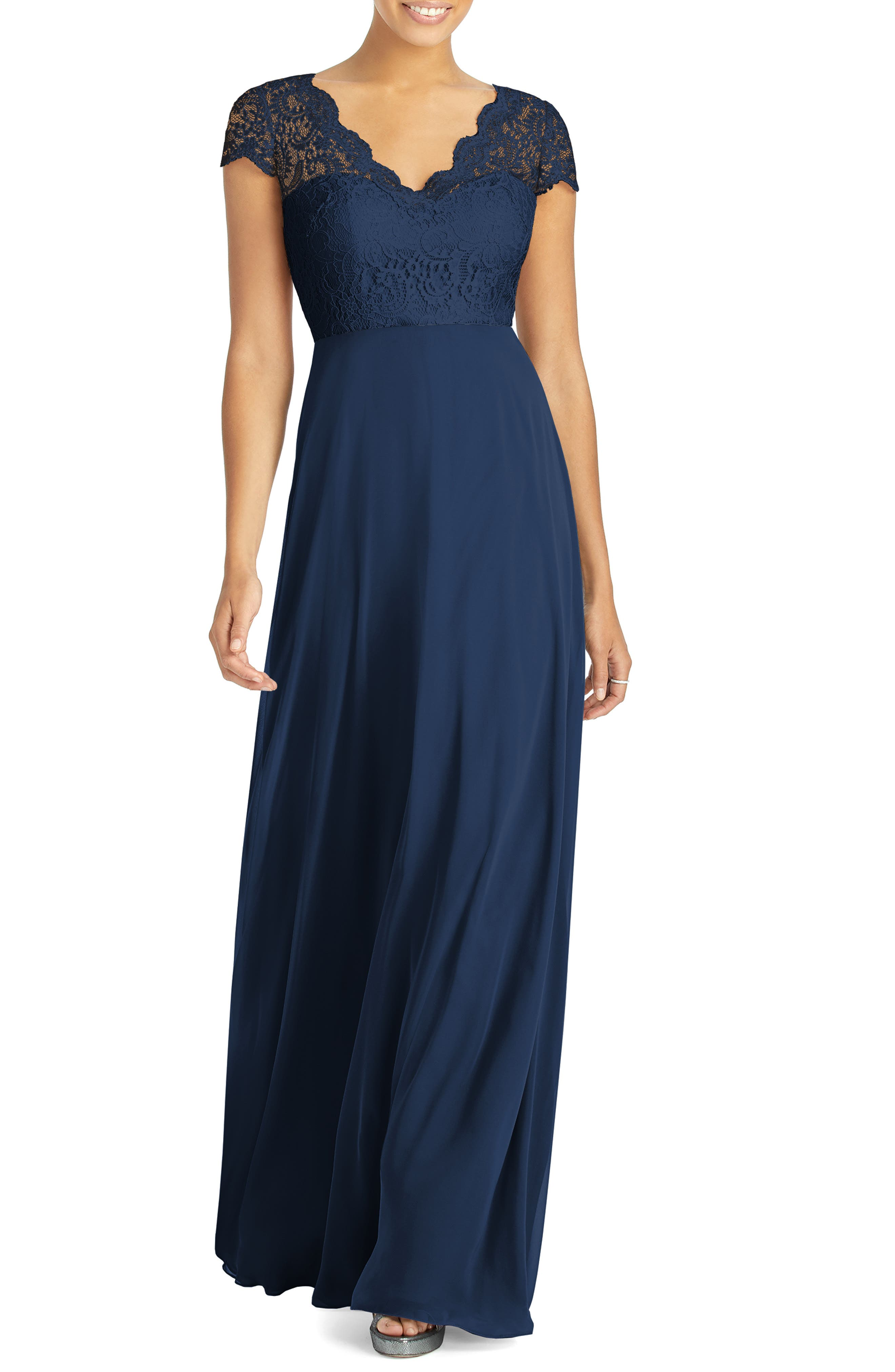 Dessy Collection Cap Sleeve Lace & Chiffon Gown, Blue