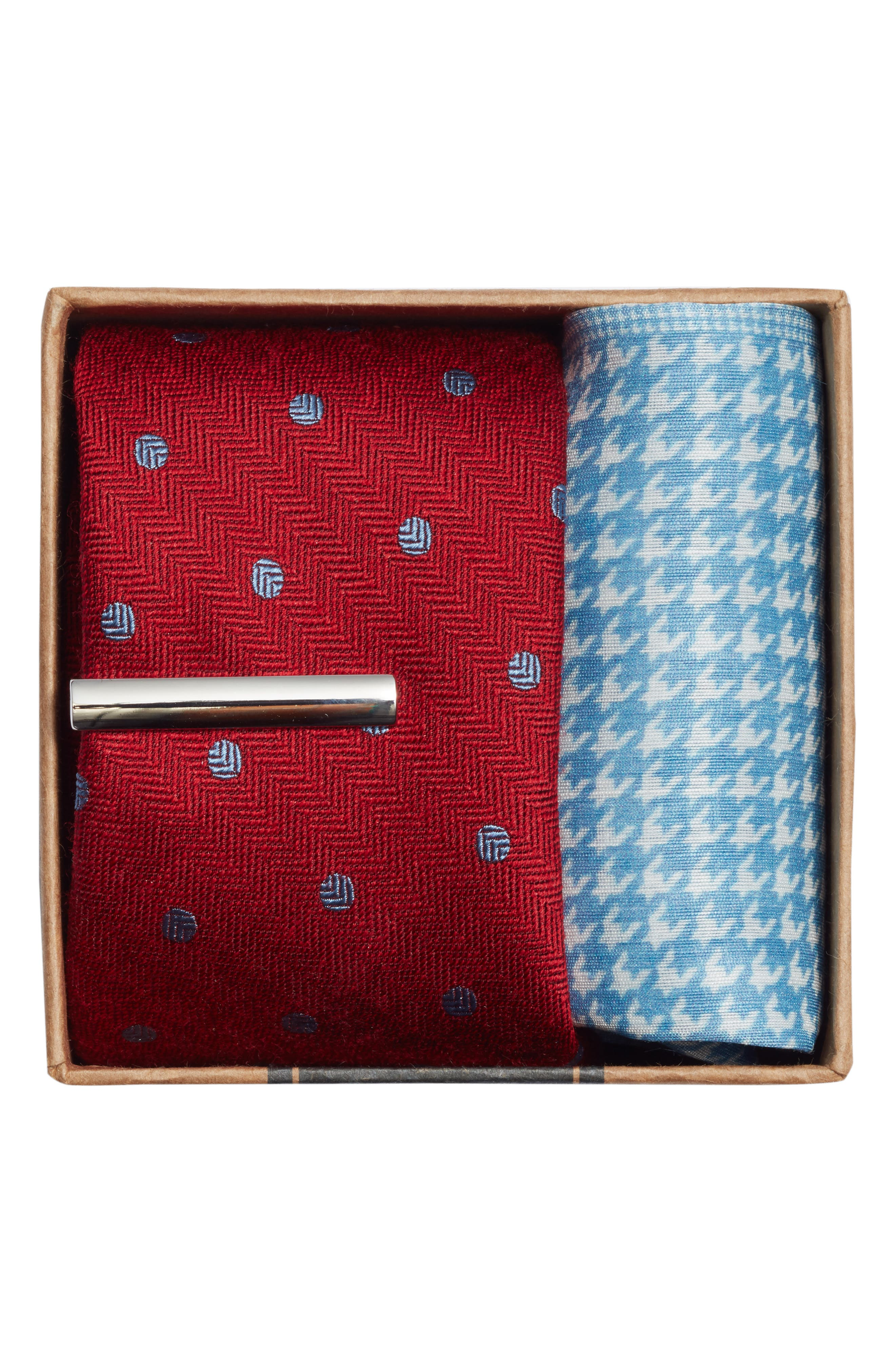 THE TIE BAR, Dotted Hitch 3-Piece Skinny Tie Style Box, Alternate thumbnail 2, color, BURGUNDY