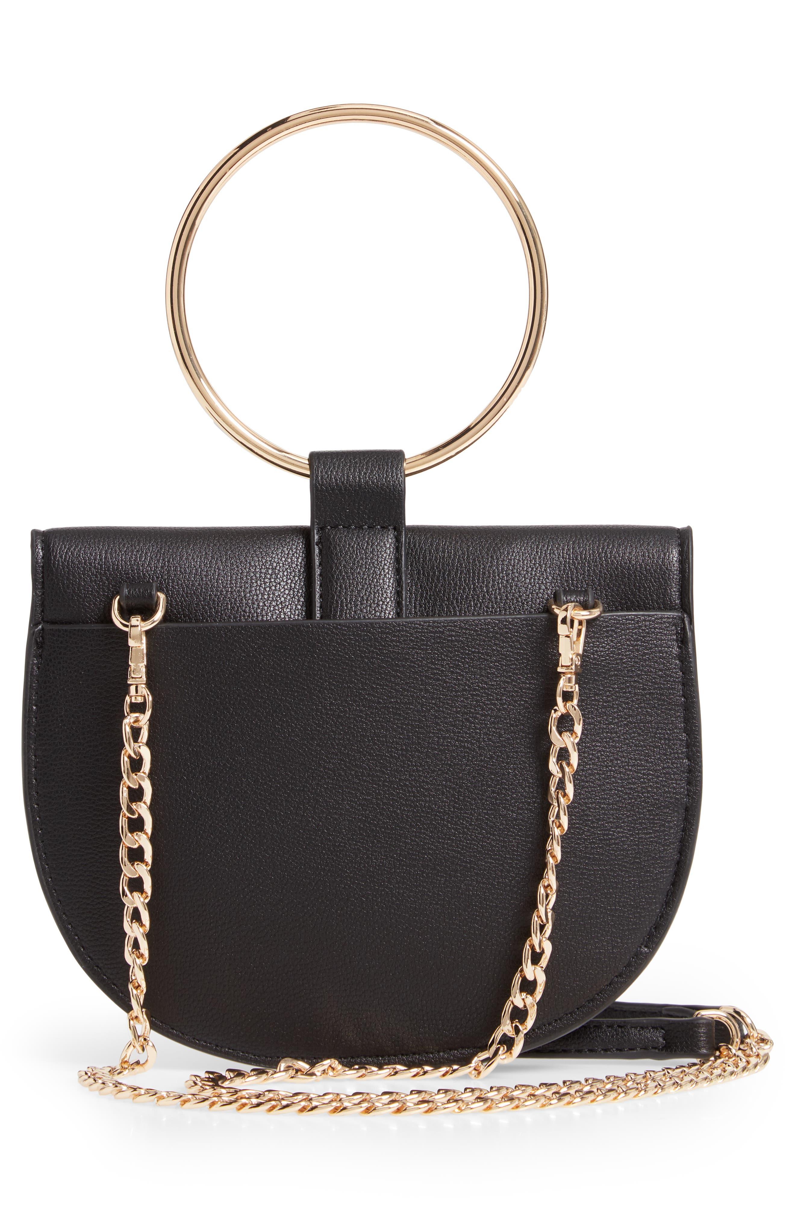 TROUVÉ, Reese Faux Leather Ring Crossbody Bag, Alternate thumbnail 3, color, BLACK