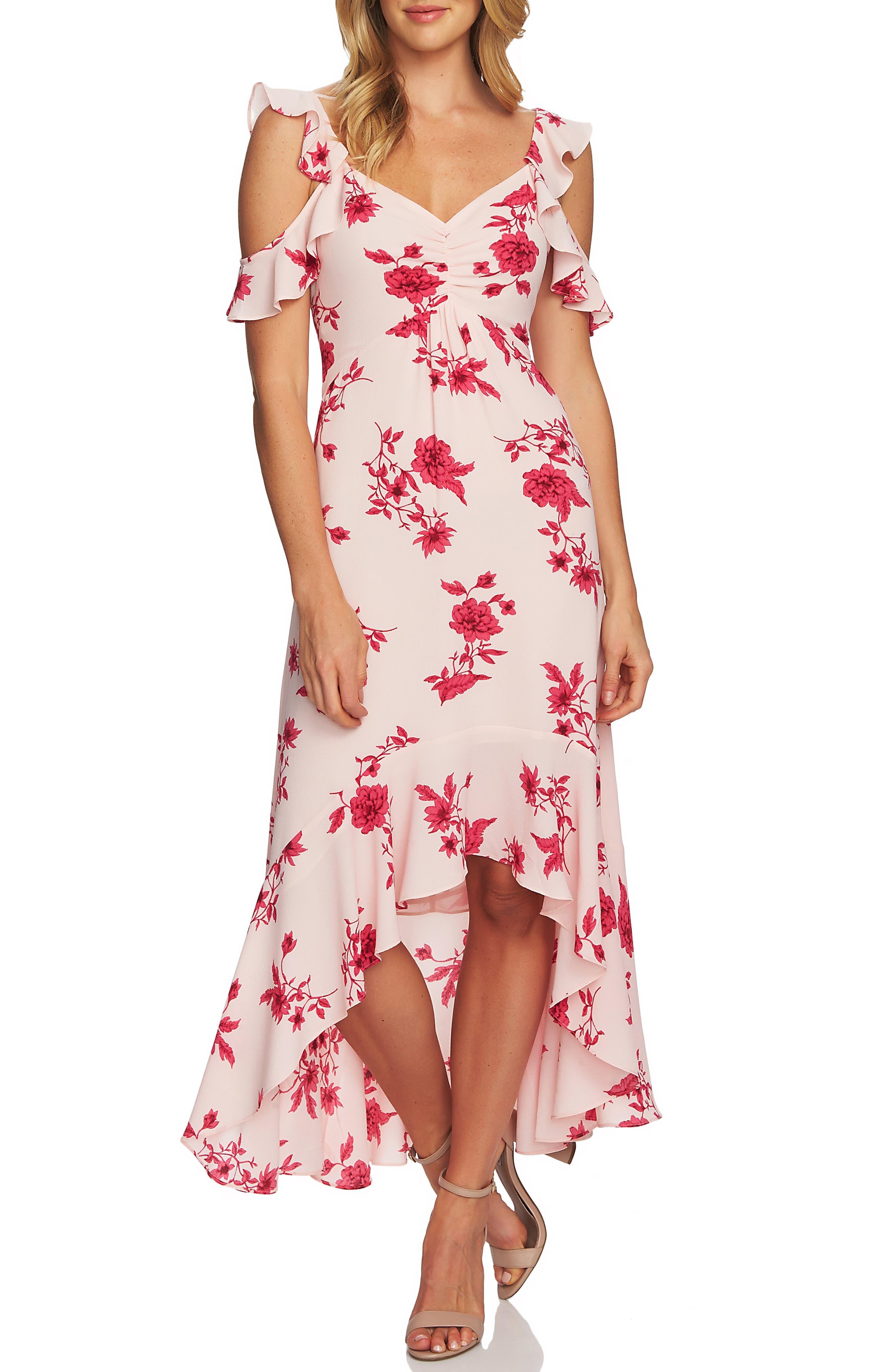 CECE, Etched Floral High/Low Midi Dress, Main thumbnail 1, color, SECRET BLUSH