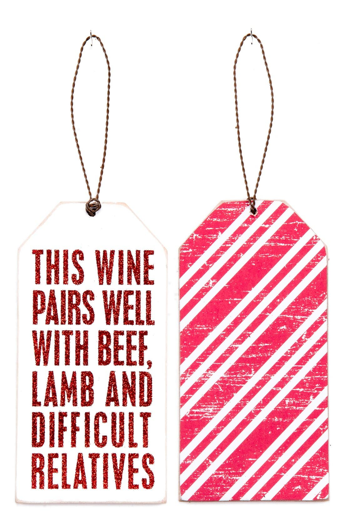 PRIMITIVES BY KATHY 'Difficult Relatives' Bottle Gift Tag, Main, color, 100