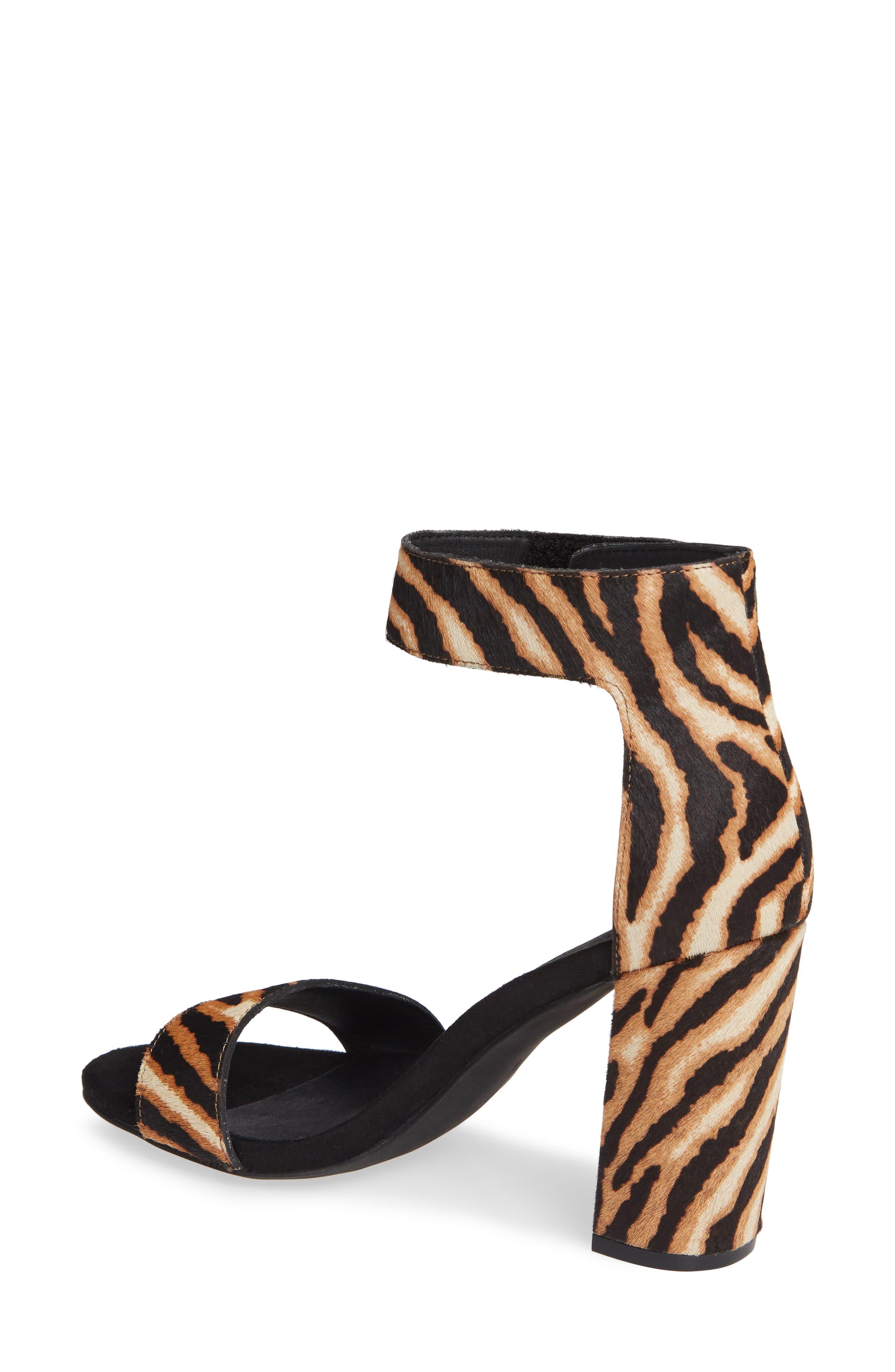 JEFFREY CAMPBELL, Lindsay Genuine Calf Hair Ankle Strap Sandal, Alternate thumbnail 2, color, BEIGE ZEBRA PRINT LEATHER