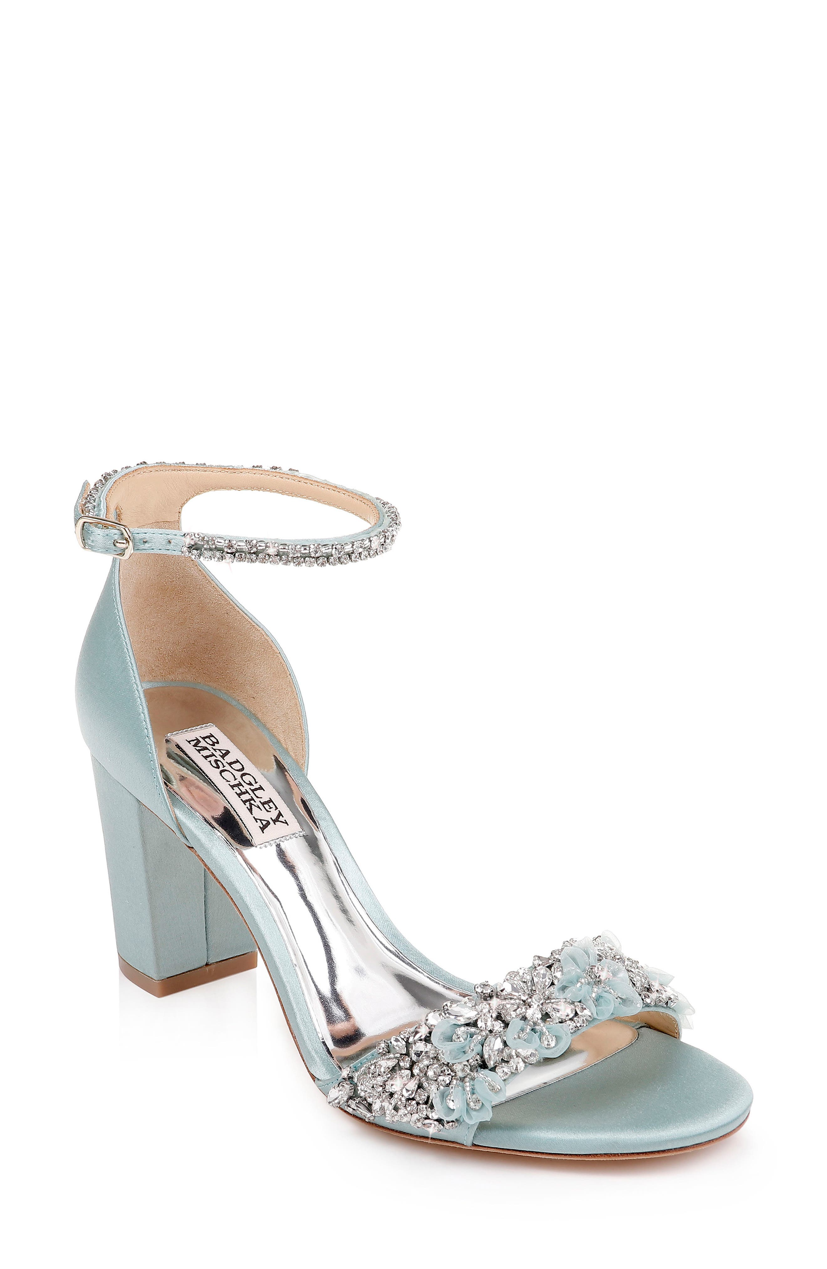 BADGLEY MISCHKA COLLECTION, Badgley Mischka Finesse Ankle Strap Sandal, Main thumbnail 1, color, BLUE RADIANCE SATIN
