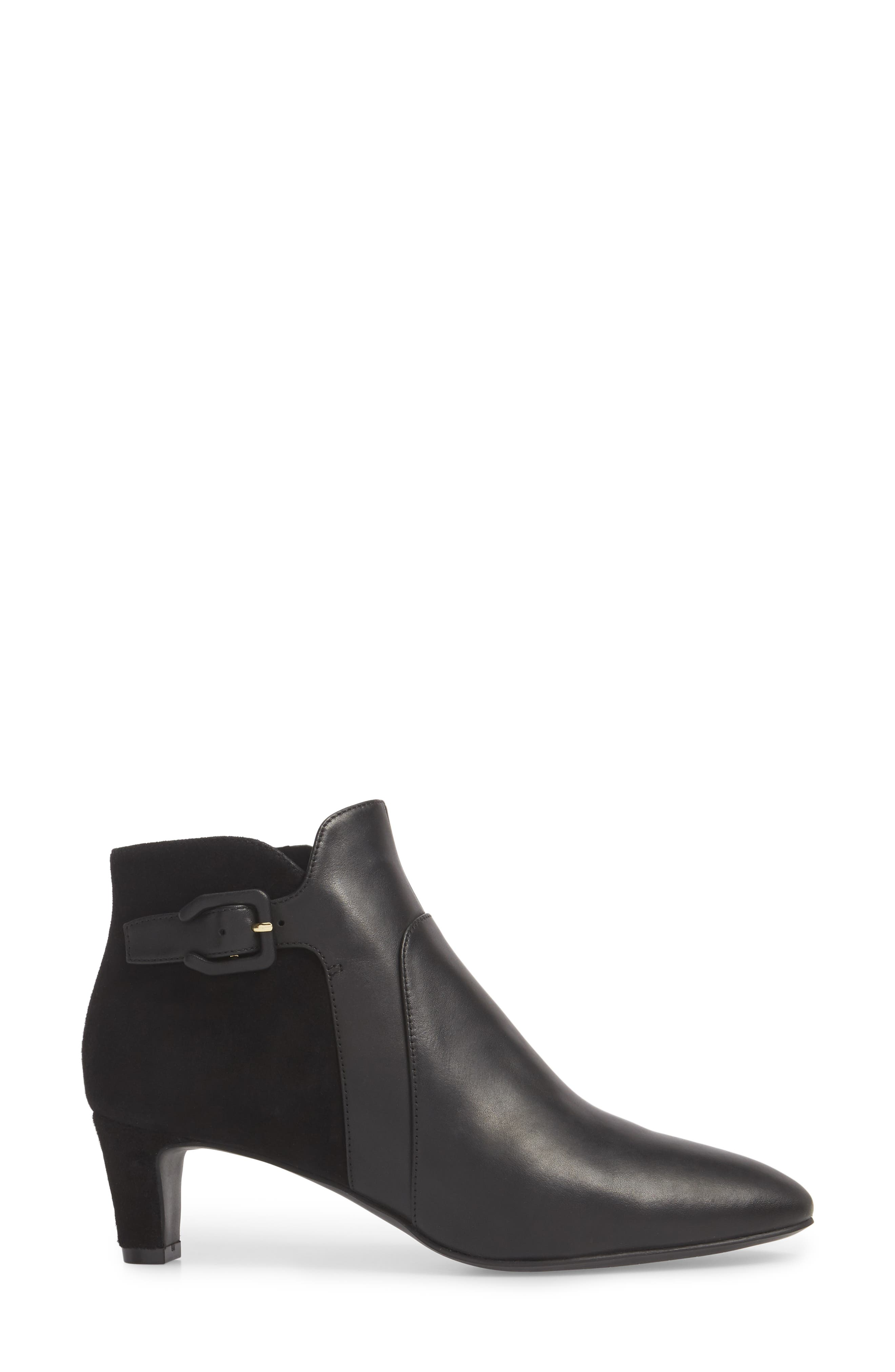 COLE HAAN, Sylvia Waterproof Bootie, Alternate thumbnail 3, color, BLACK LEATHER