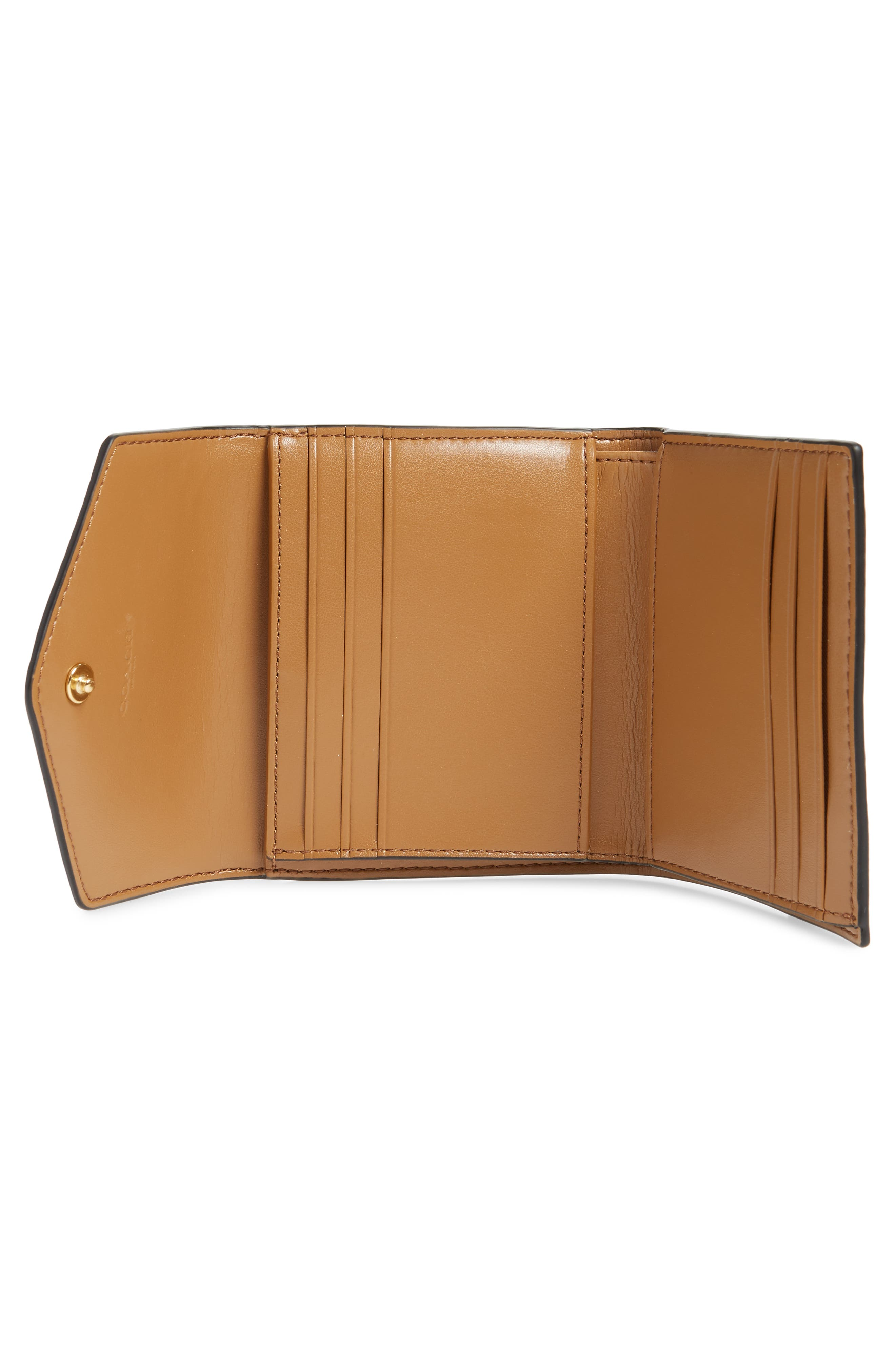 COACH, Leather & Signature Canvas Trifold Wallet, Alternate thumbnail 2, color, TAN BLACK
