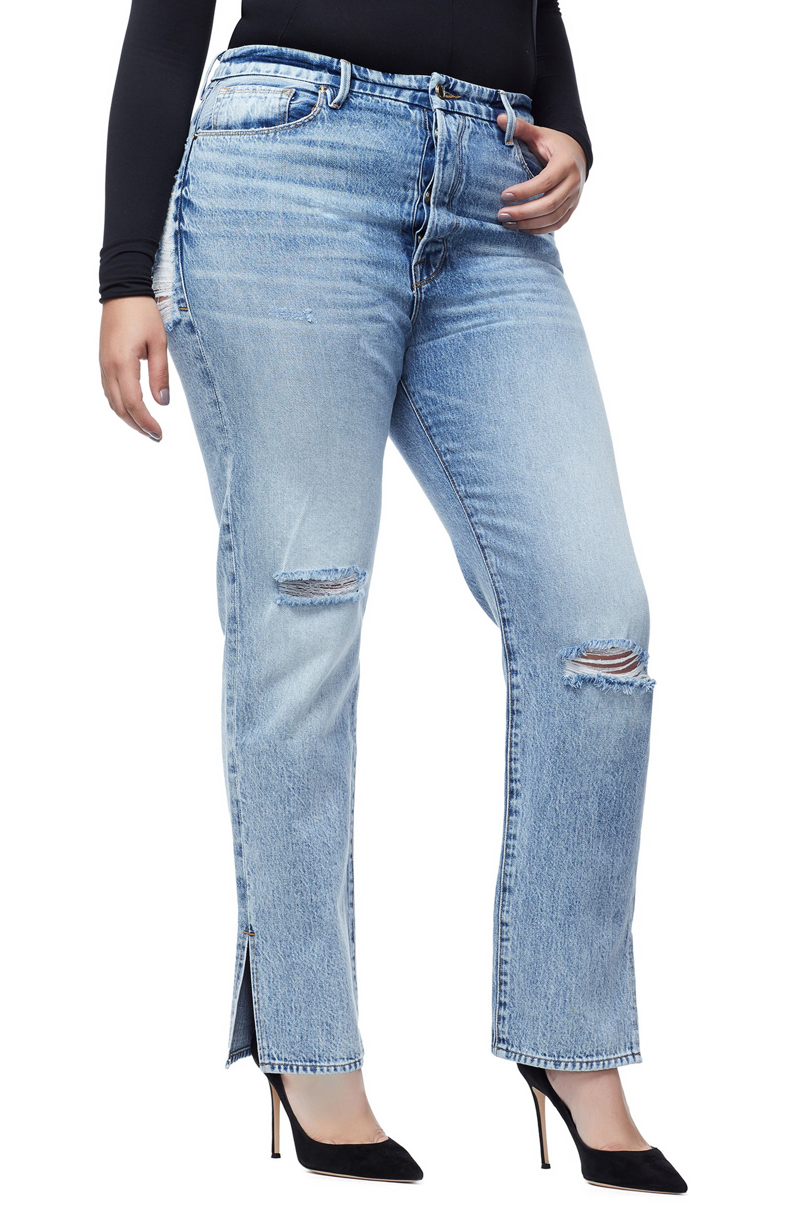 GOOD AMERICAN, Good Boy High Rise Ripped Boyfriend Jeans, Alternate thumbnail 6, color, BLUE 177