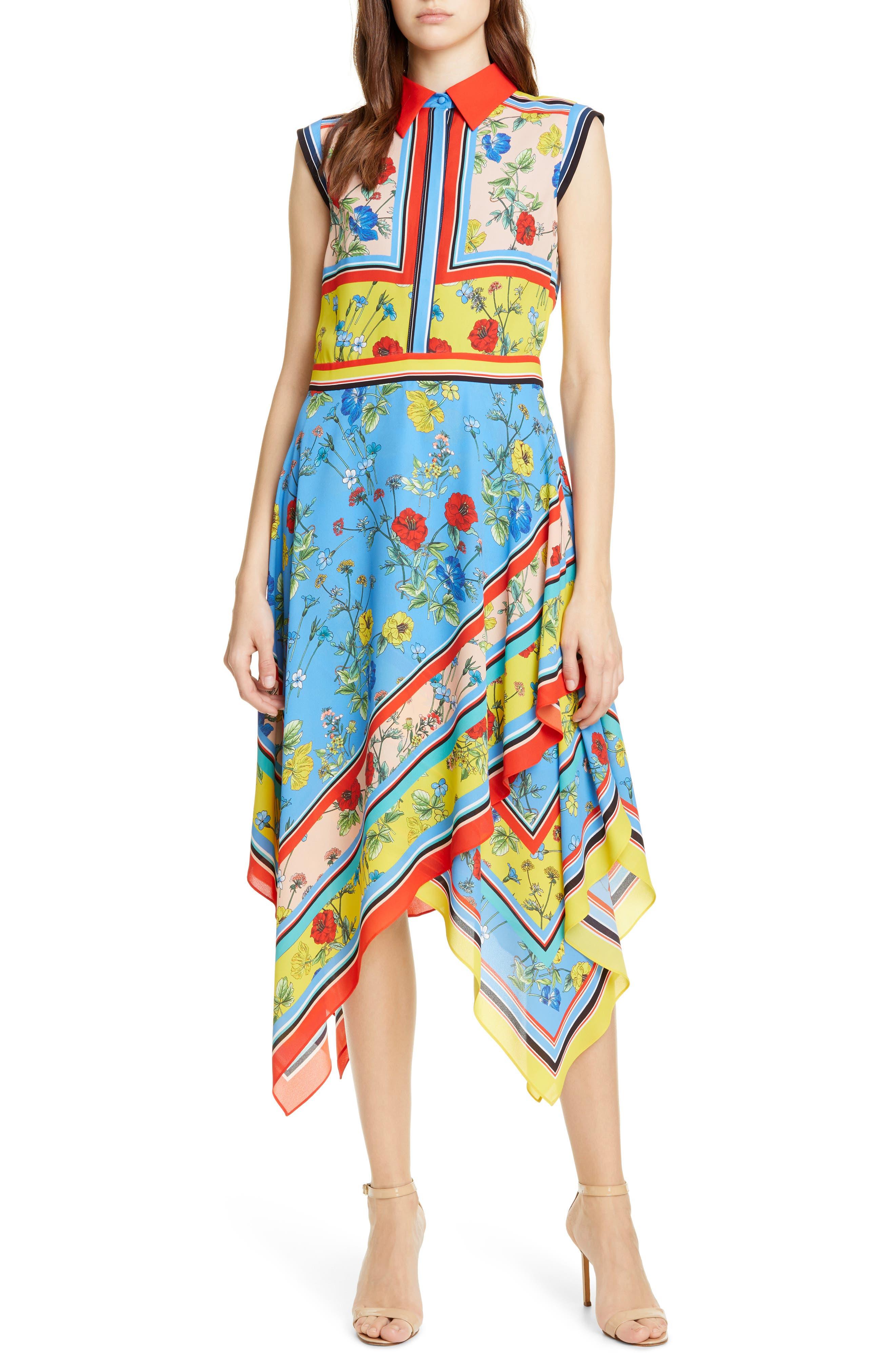 Alice + Olivia Farrah Handkerchief Dress, Blue